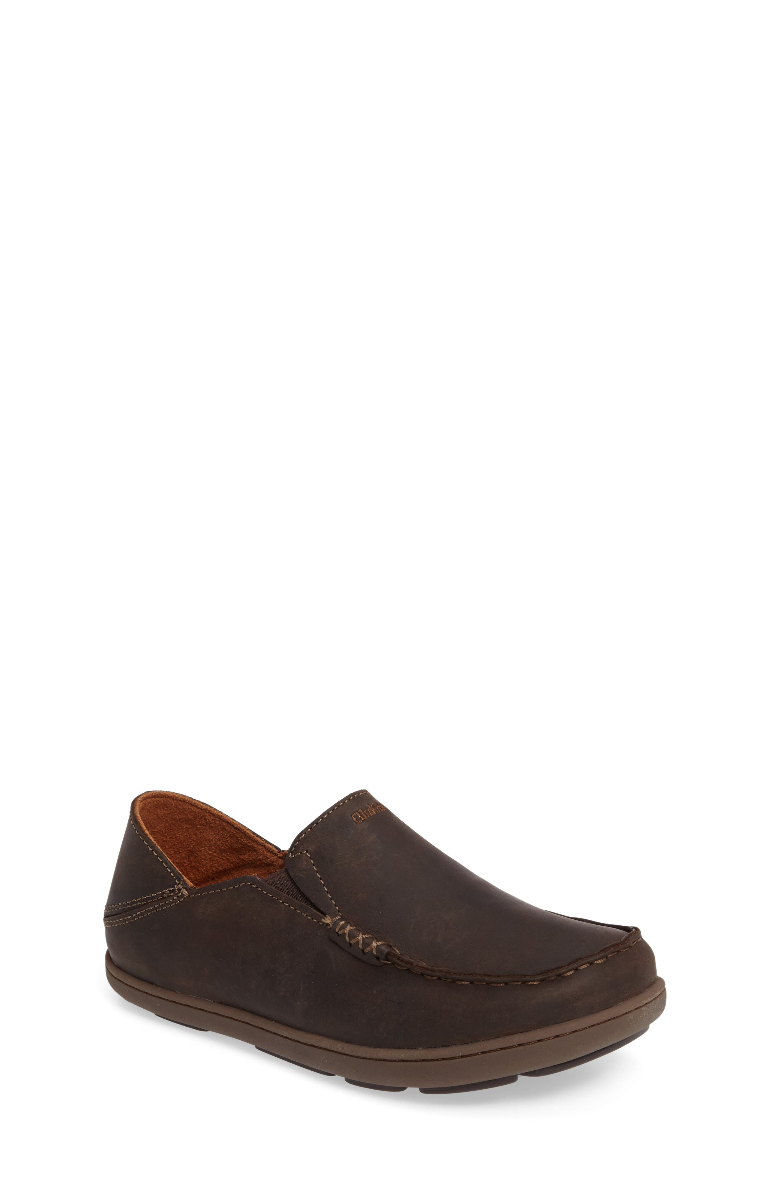 'Moloa' Water Resistant Slip-On,                             Main thumbnail 1, color,                             DARK WOOD/ MUSTANG