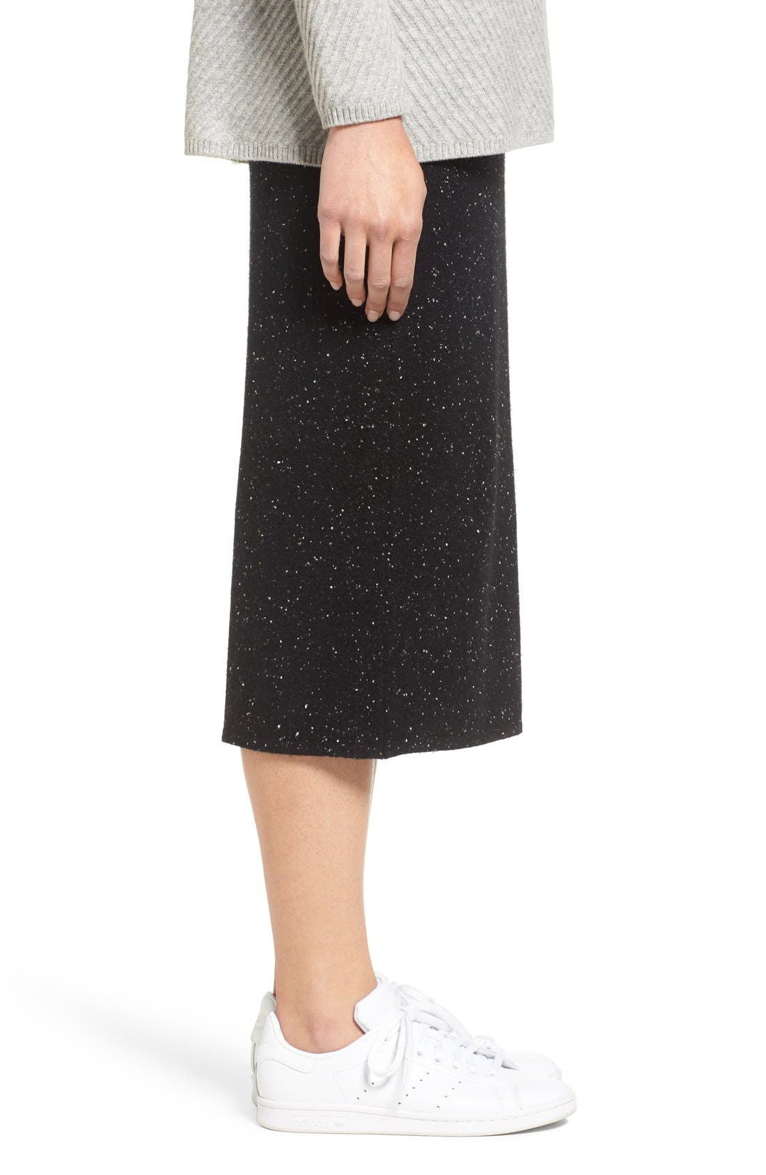 Cashmere Blend Knit Skirt,                             Alternate thumbnail 3, color,                             001