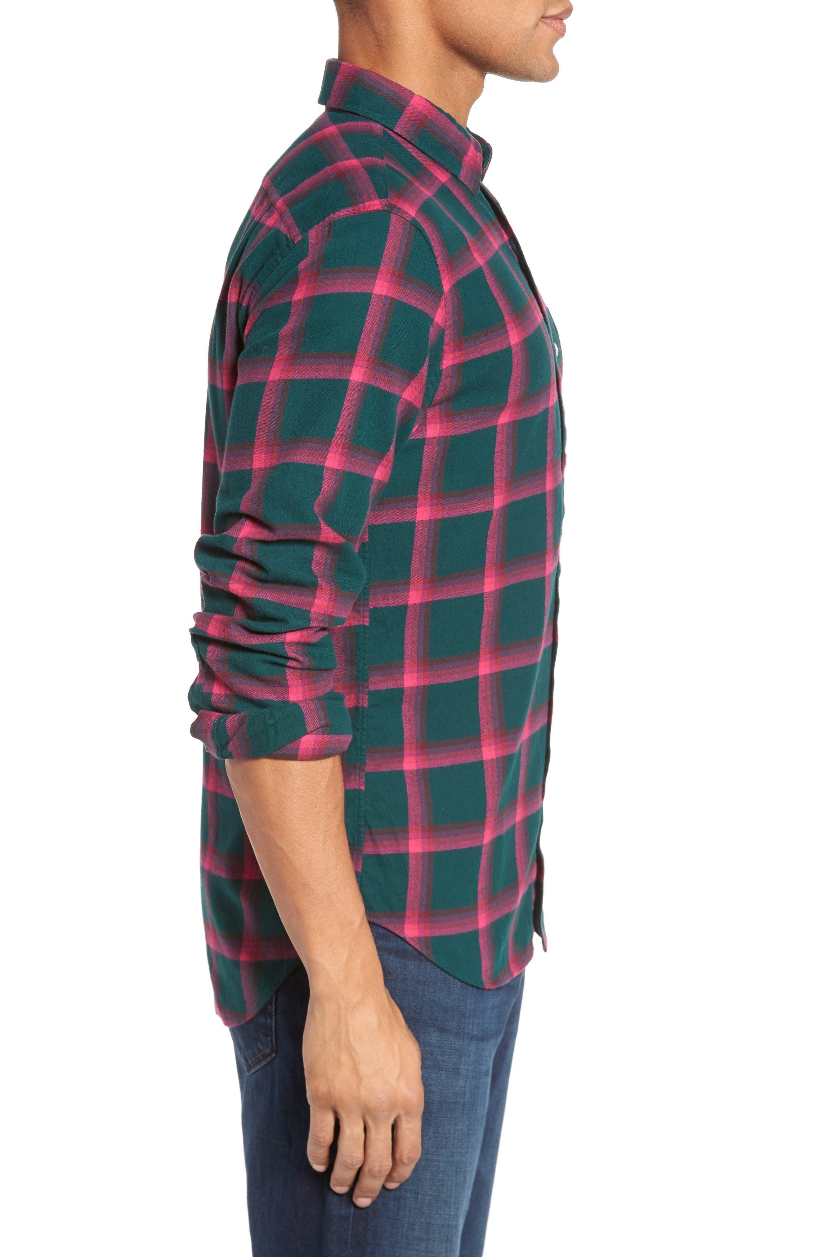 Slim Fit Brushed Windowpane Sport Shirt,                             Alternate thumbnail 3, color,