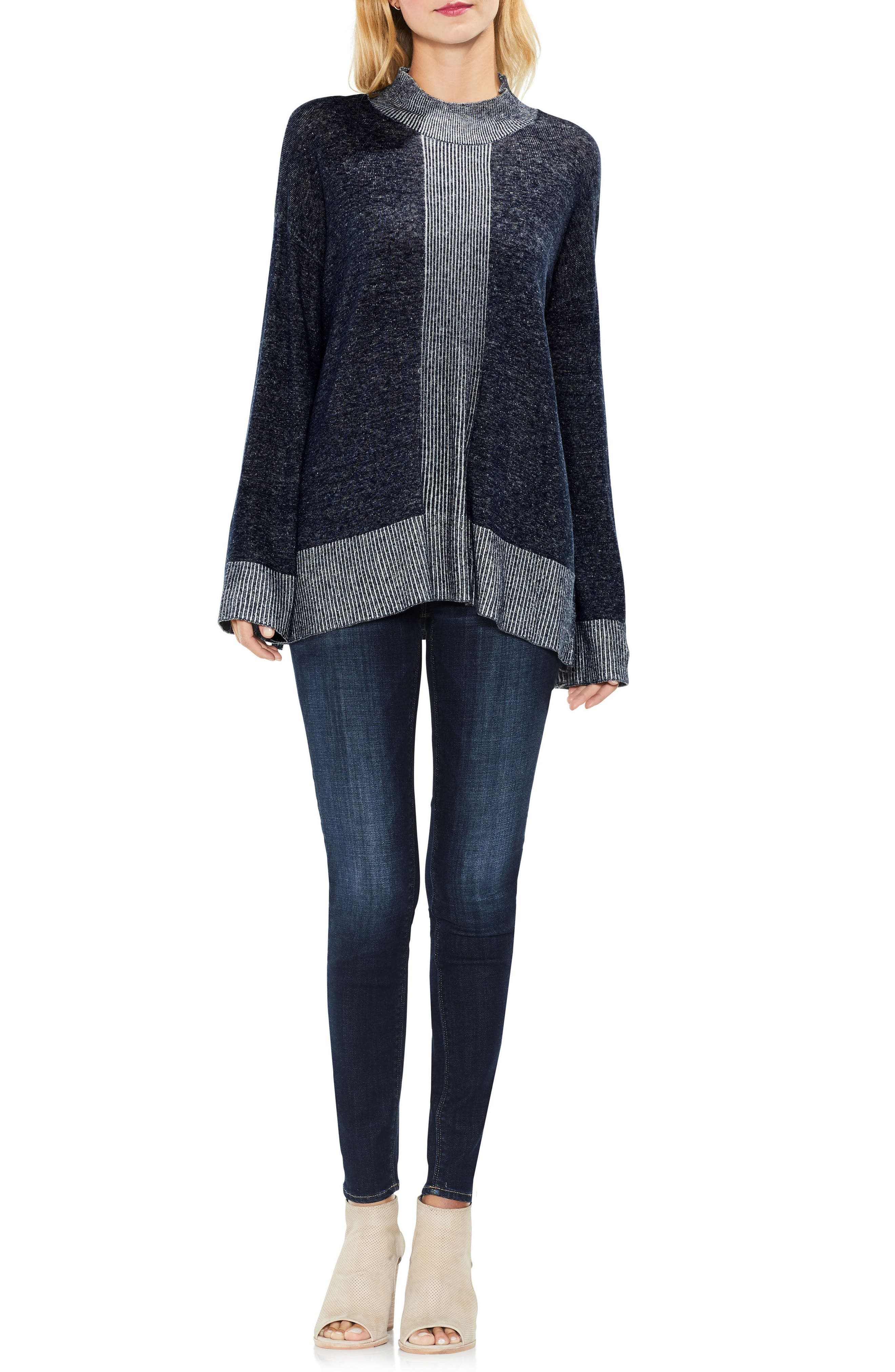 Two by Vince Camuto Ribbed Contrast Sweater,                             Alternate thumbnail 6, color,