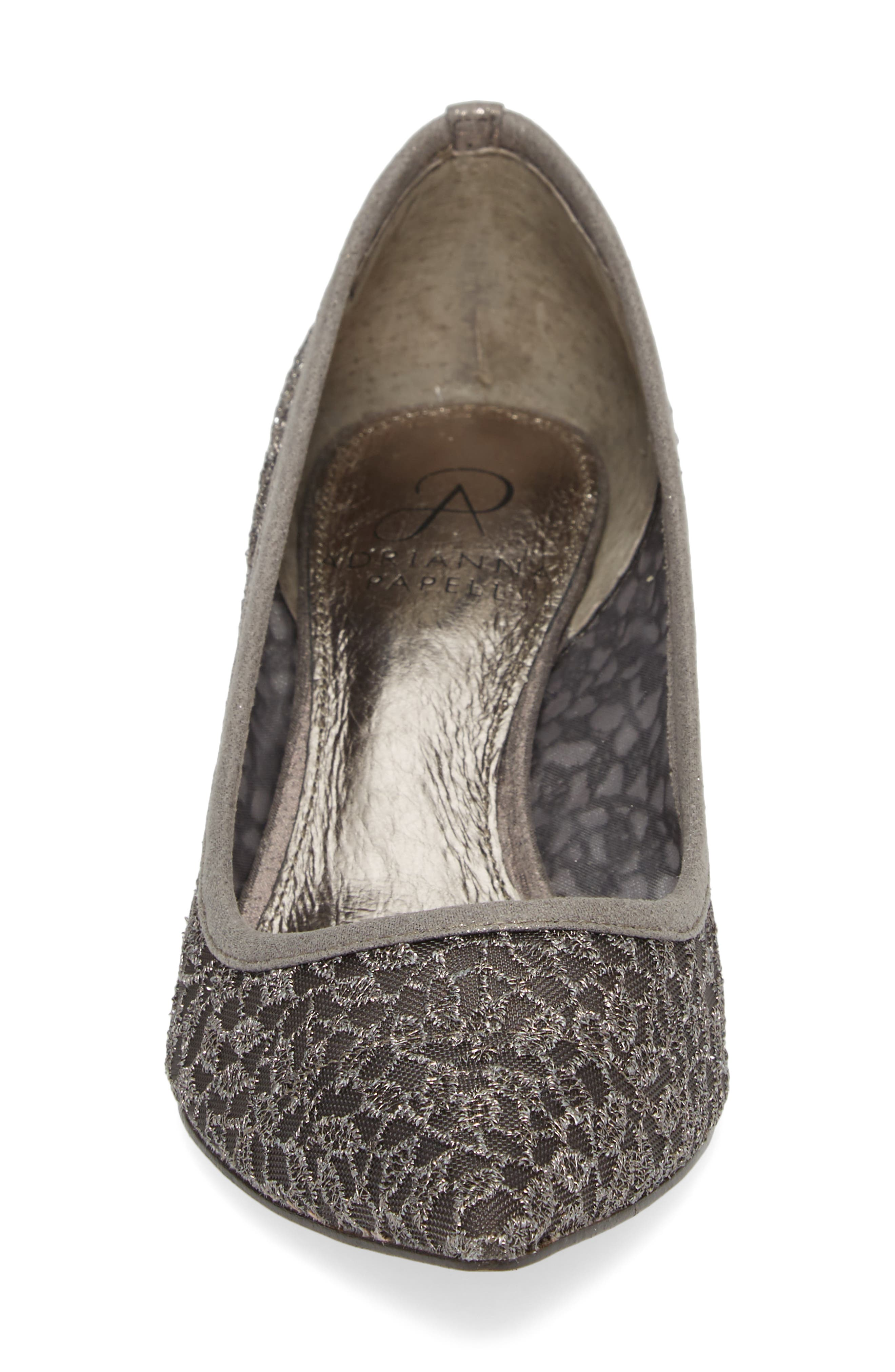 ADRIANNA PAPELL,                             'Lois' Mesh Pump,                             Alternate thumbnail 4, color,                             GUNMETAL LACE FABRIC
