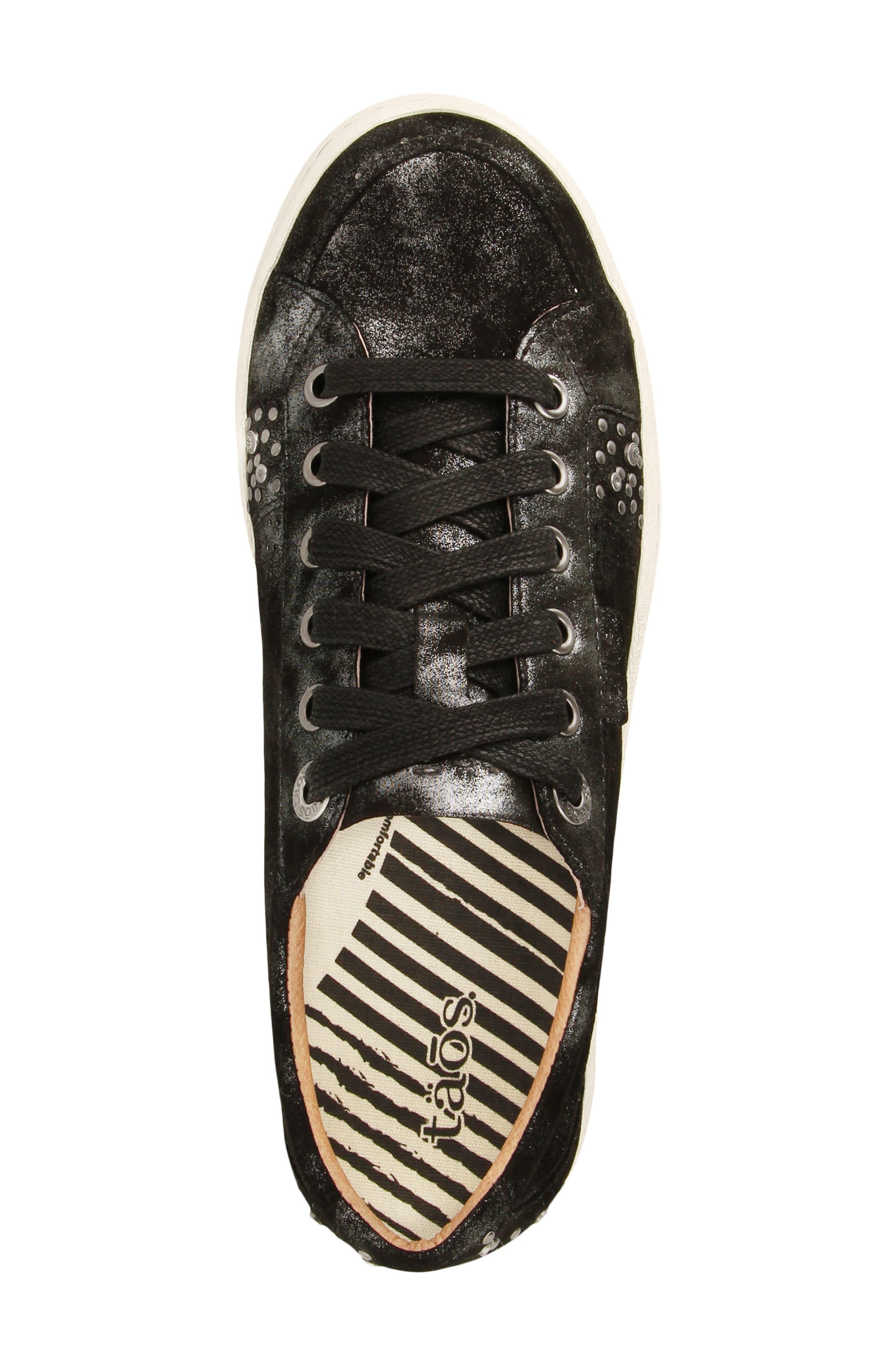'Freedom' Sneaker,                             Alternate thumbnail 4, color,                             BLACK METALLIC LEATHER