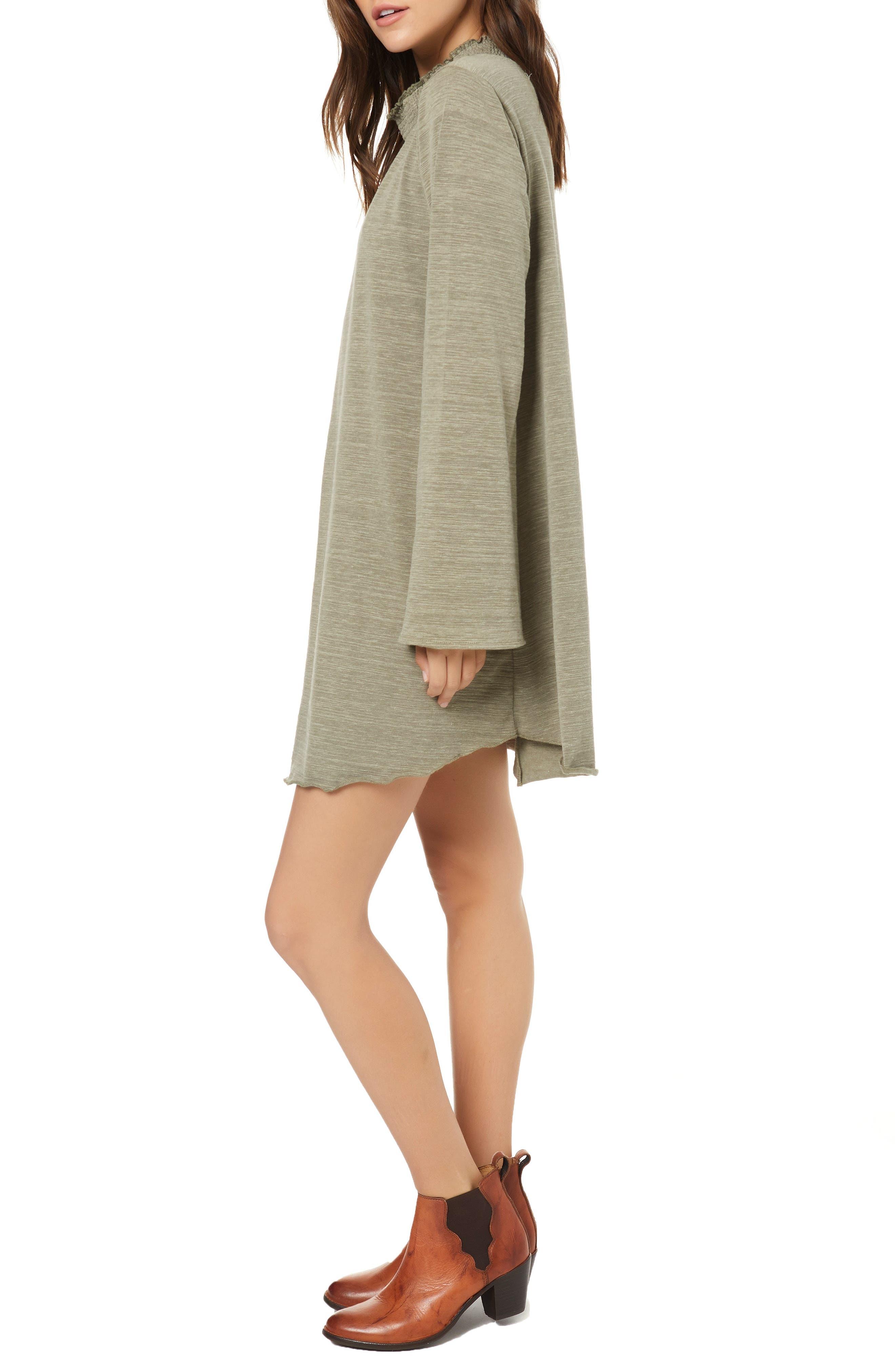 Rhodes Bell Sleeve Swing Dress,                             Alternate thumbnail 3, color,                             OLIVINE