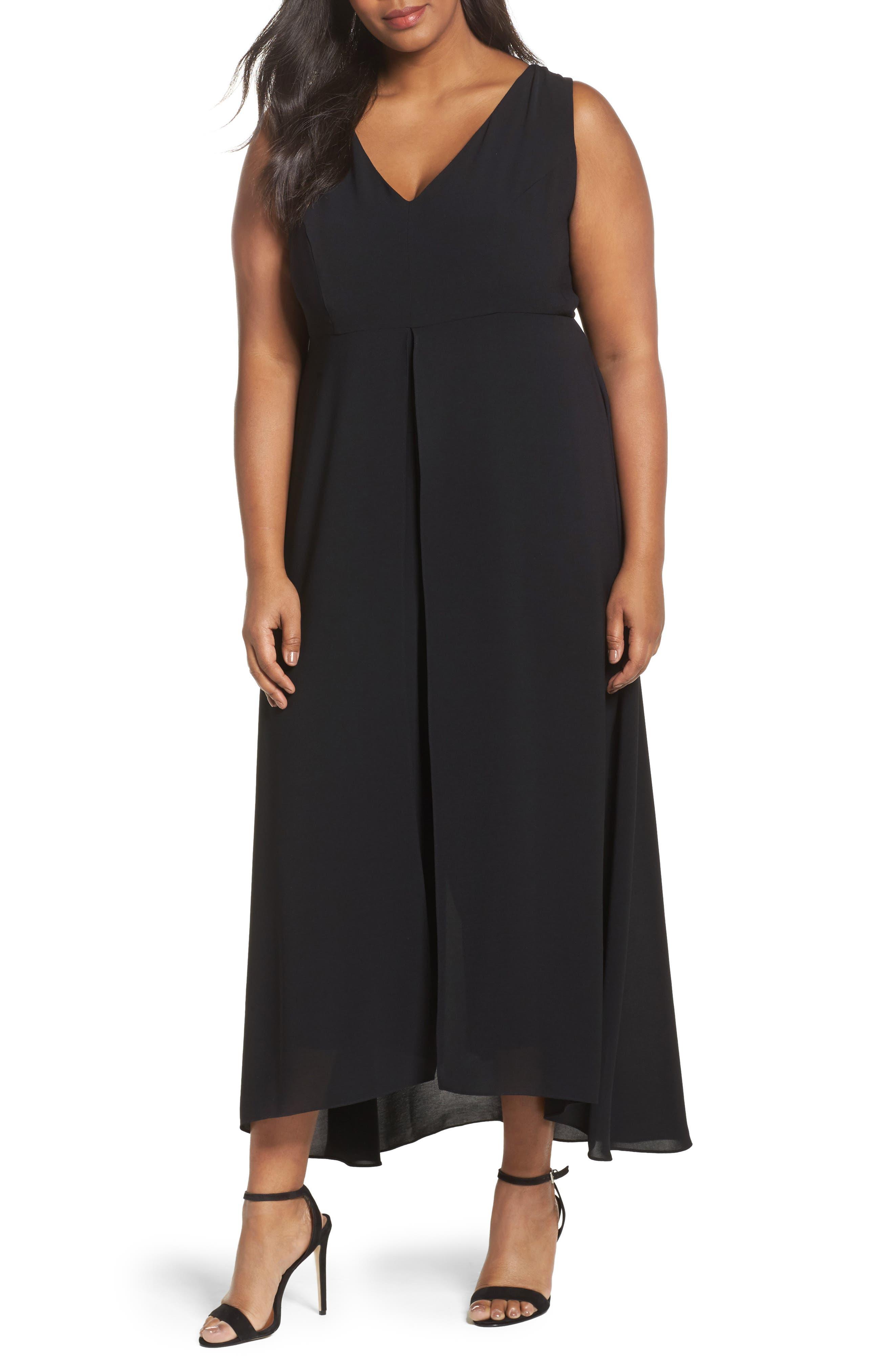 V-Neck Chiffon Overlay Jumpsuit,                         Main,                         color, BLACK