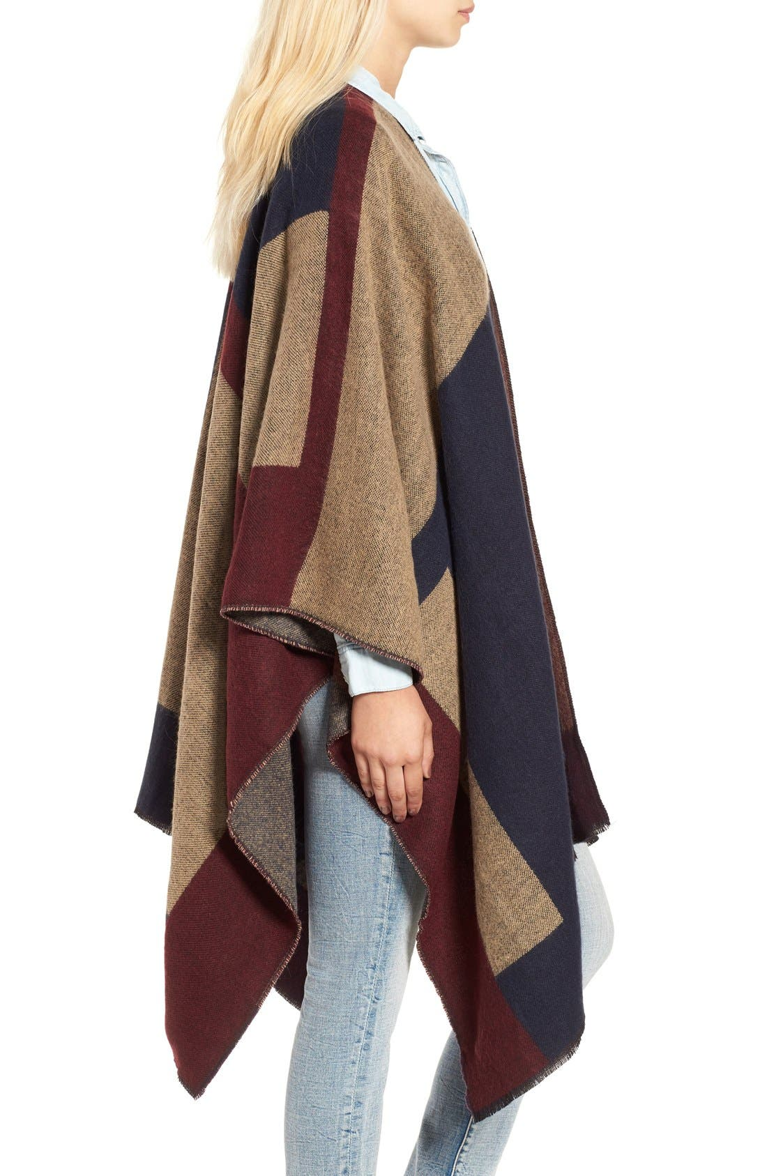 Colorblock Poncho,                             Alternate thumbnail 3, color,                             410