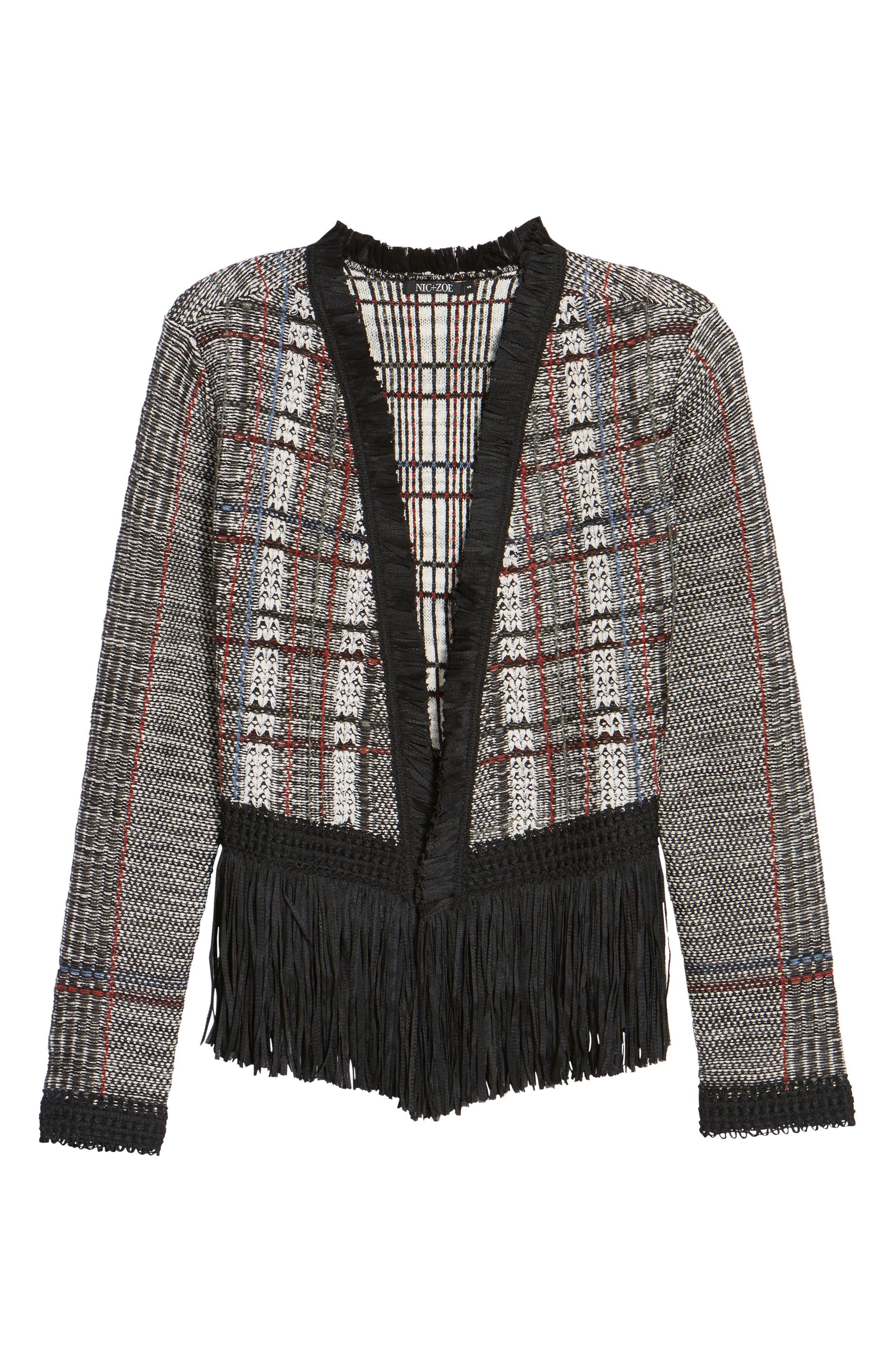 Plaid Tweed Fringe Jacket,                             Alternate thumbnail 5, color,                             090