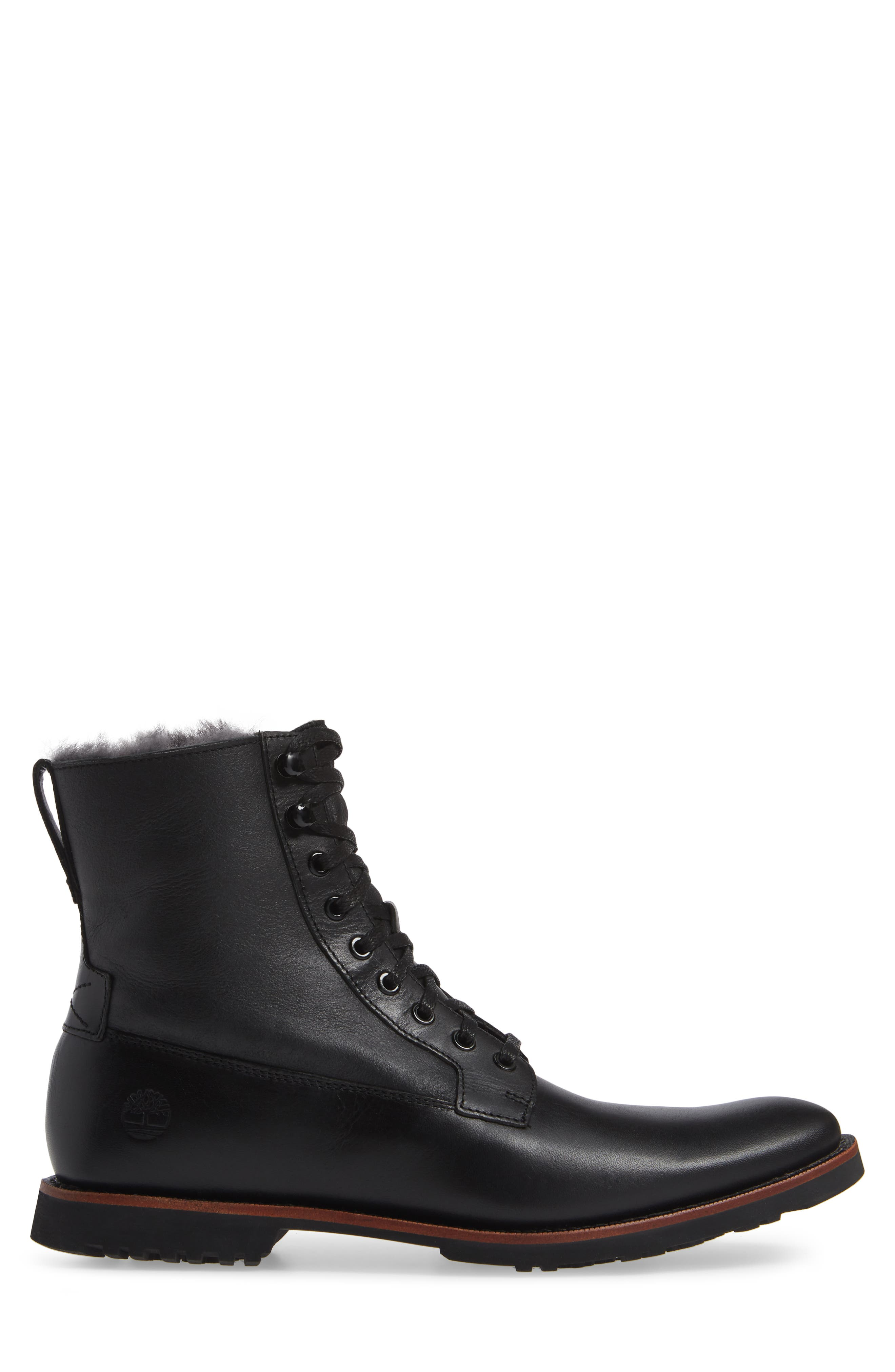 Kendrick Genuine Shearling Boot,                             Alternate thumbnail 3, color,                             JET BLACK W/ CRACKLE SHEARLING