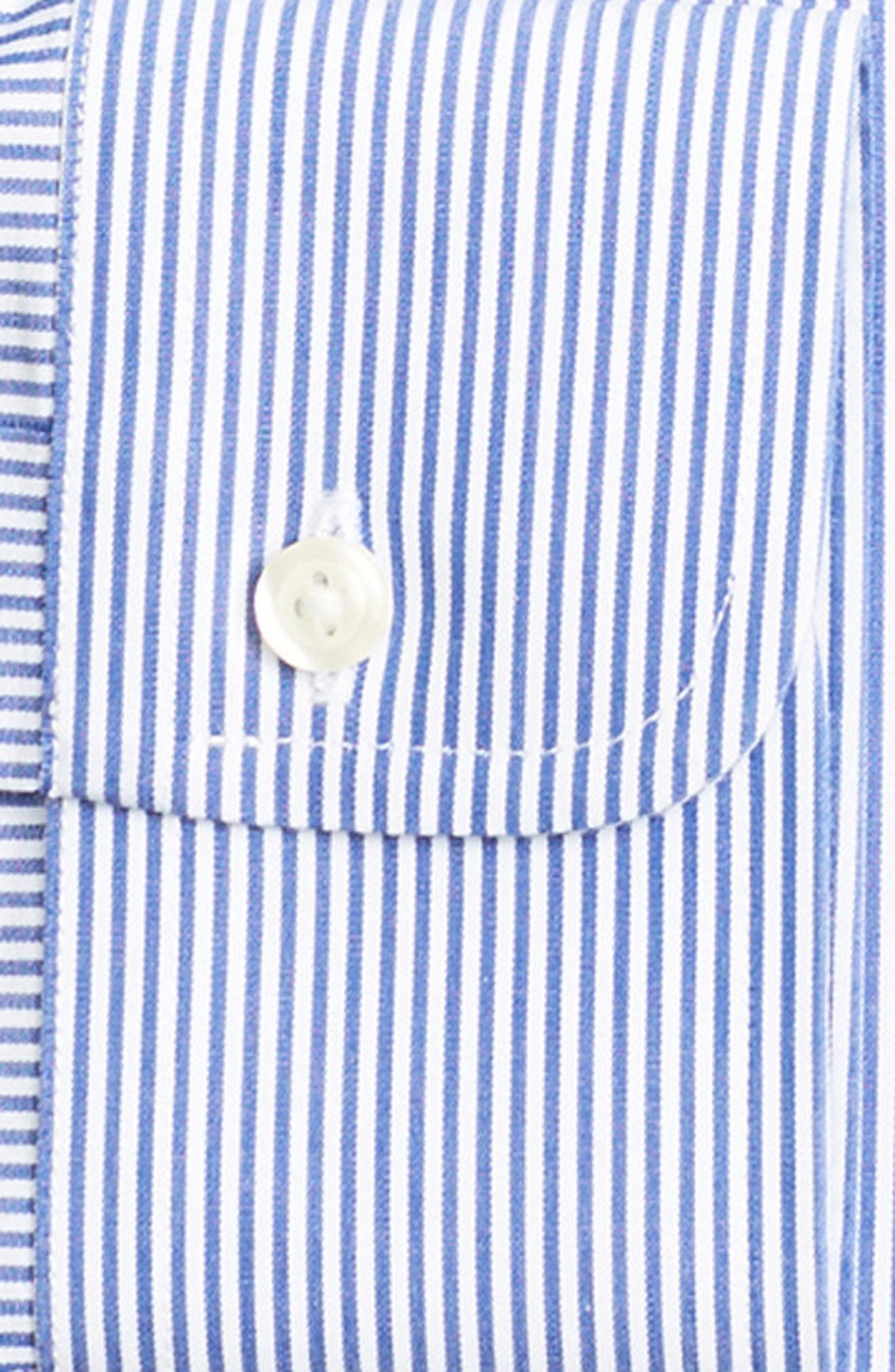 Trim Fit Stripe Dress Shirt,                             Alternate thumbnail 2, color,                             BLUE