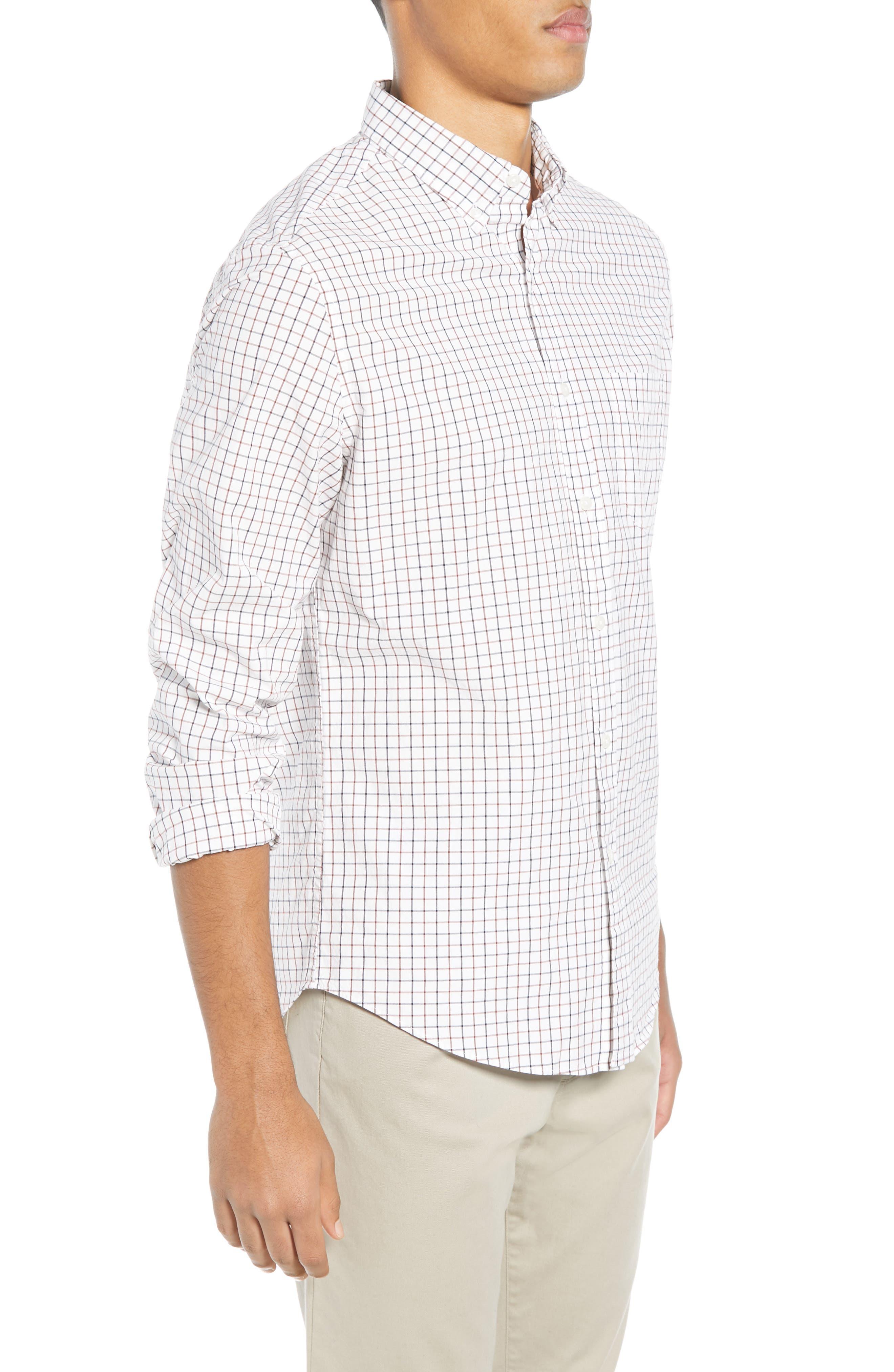 Slim Fit Stretch Secret Wash Stripe Tattersall Sport Shirt,                             Alternate thumbnail 4, color,                             NAVY MAHOGANY