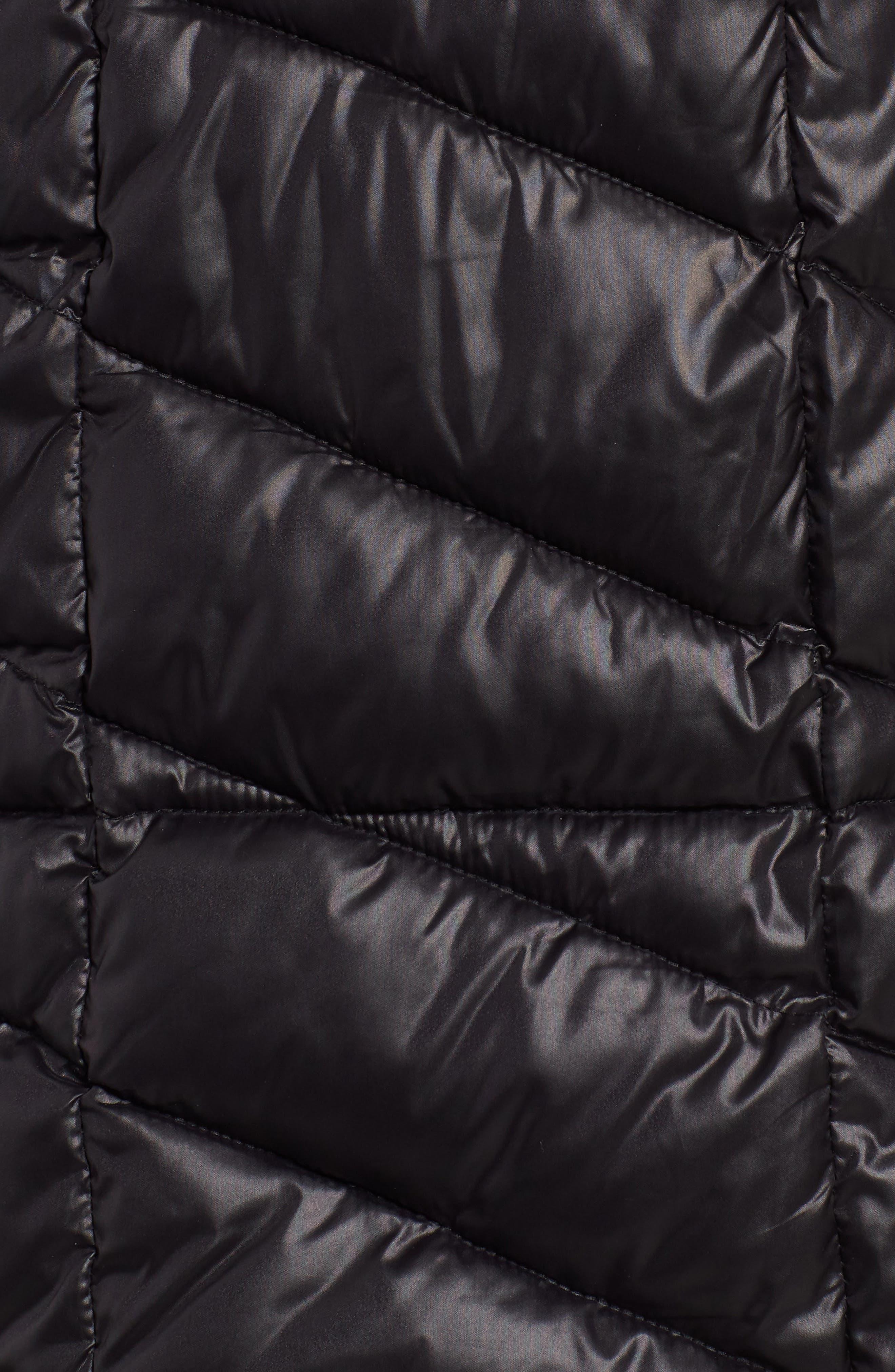 Velvet Trim Quilted Coat,                             Alternate thumbnail 7, color,                             BLACK