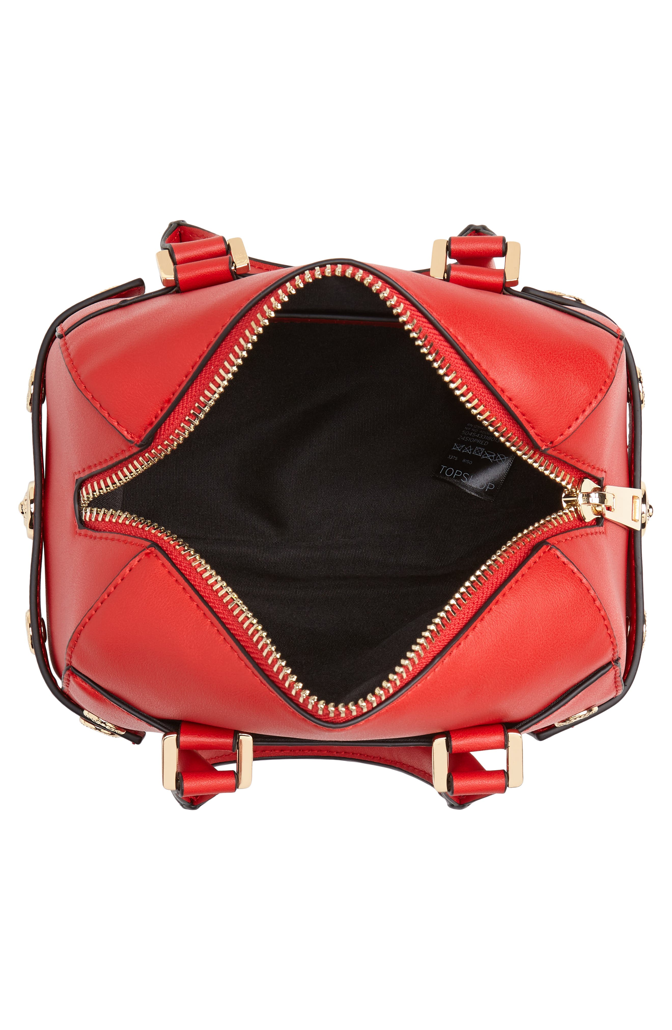 Bianca Studded Faux Leather Bowler Bag,                             Alternate thumbnail 4, color,                             RED MULTI