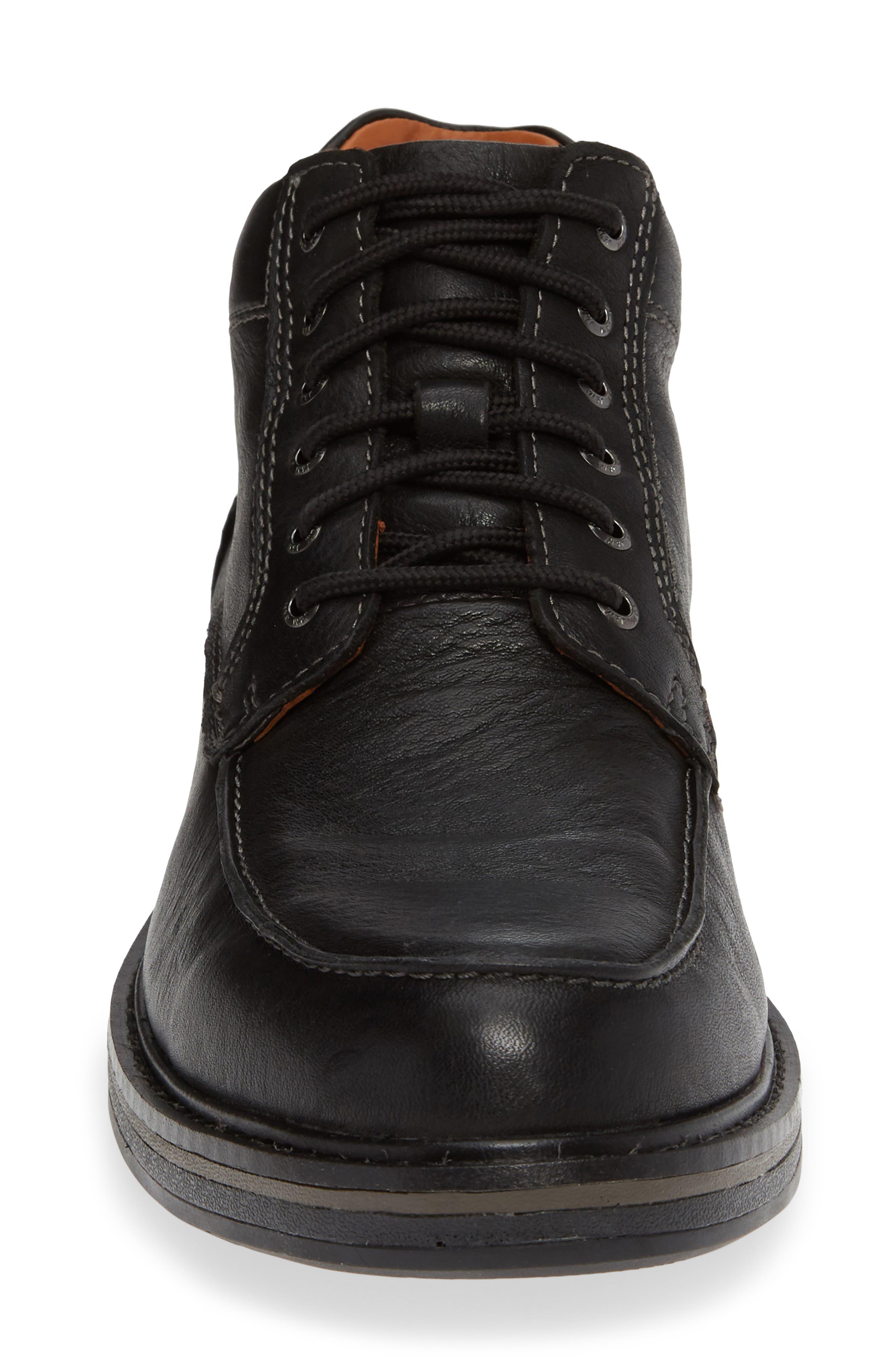 Rutledge Waterproof Moc Toe Boot,                             Alternate thumbnail 4, color,                             BLACK LEATHER