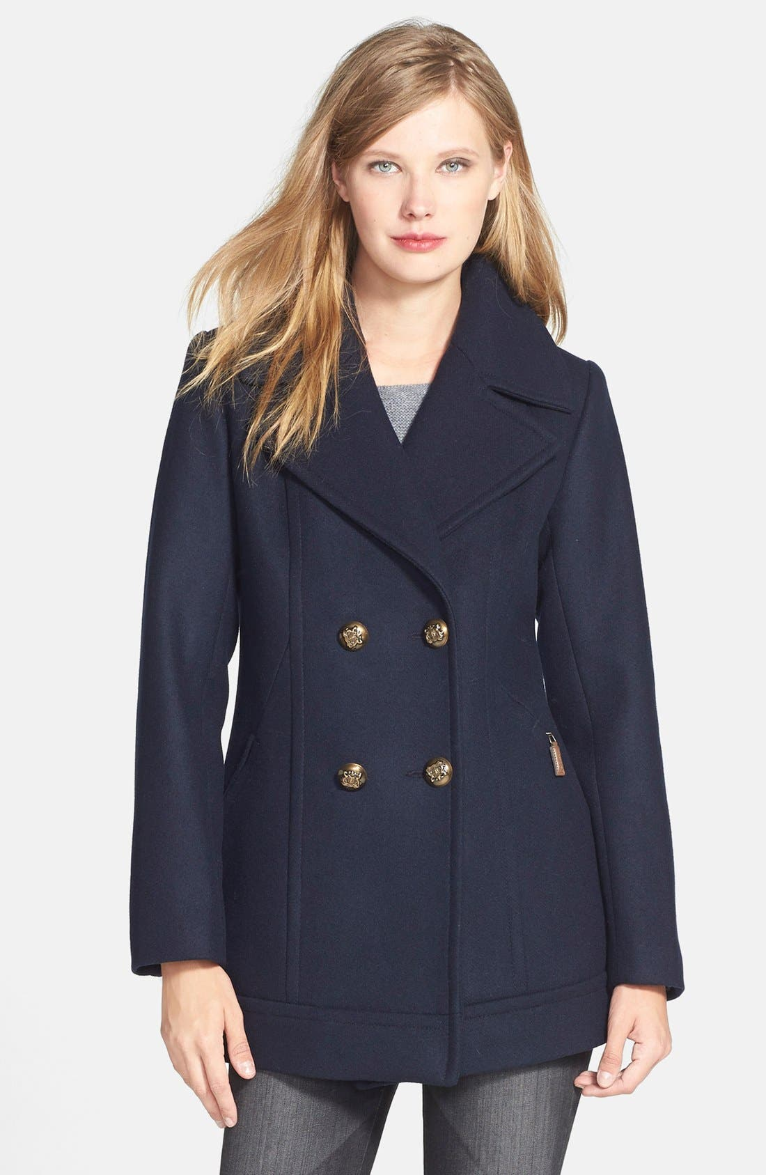 Double Breasted Wool Blend Peacoat, Main, color, 001