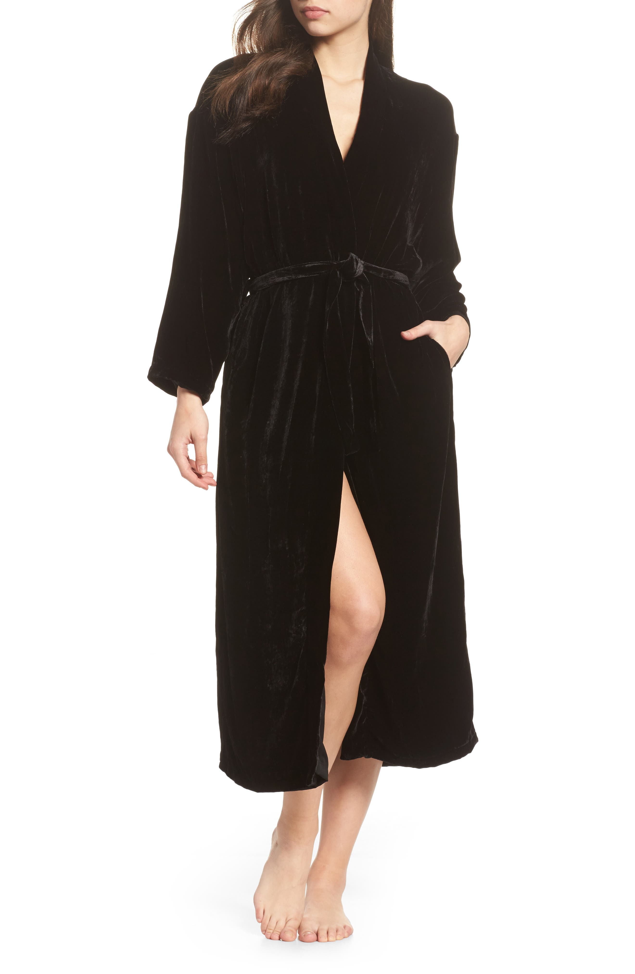 Long Velvet Robe,                             Main thumbnail 1, color,                             BLACK