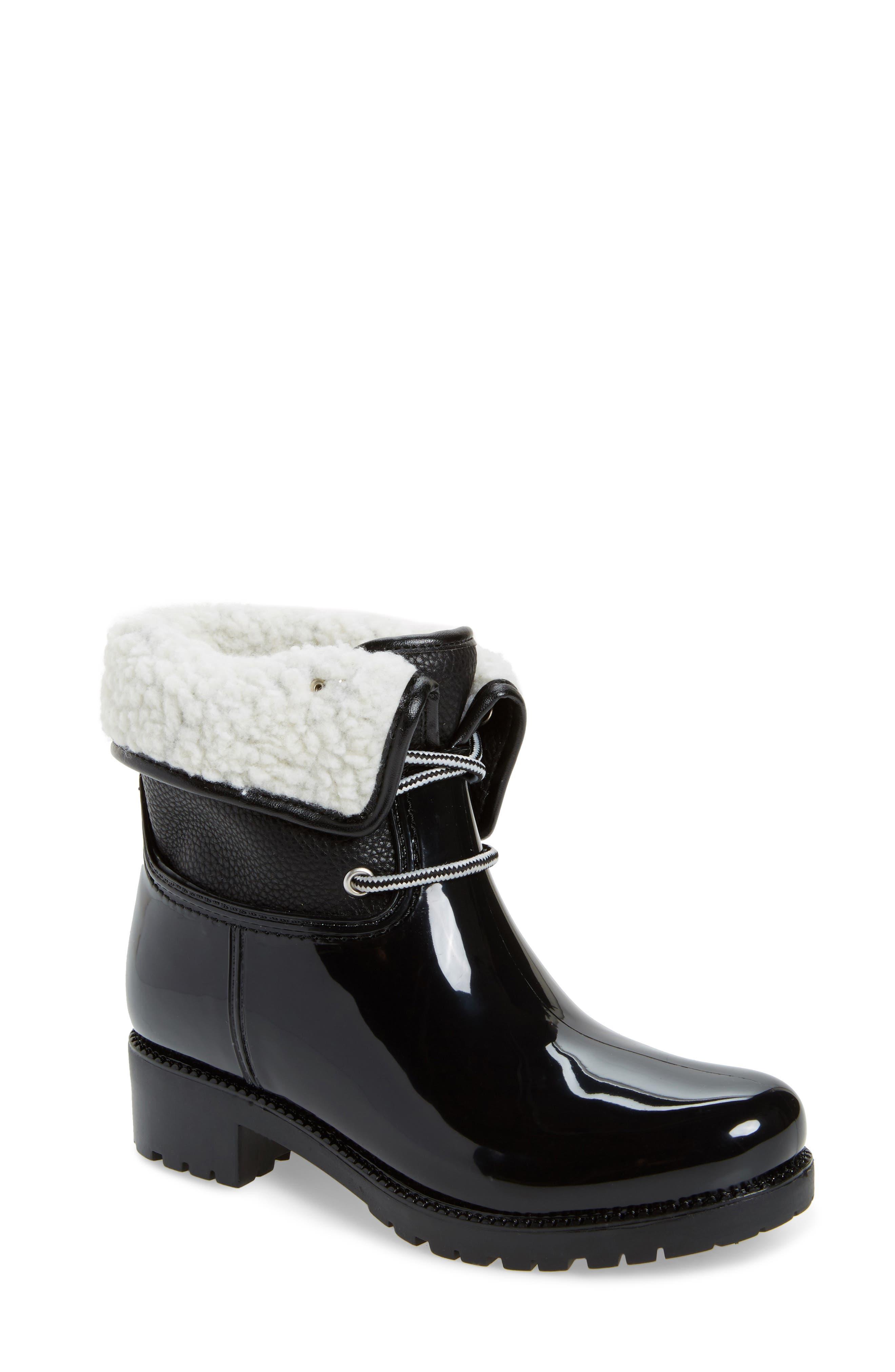 Calgary Faux Shearling Water Resistant Boot,                             Main thumbnail 1, color,                             BLACK