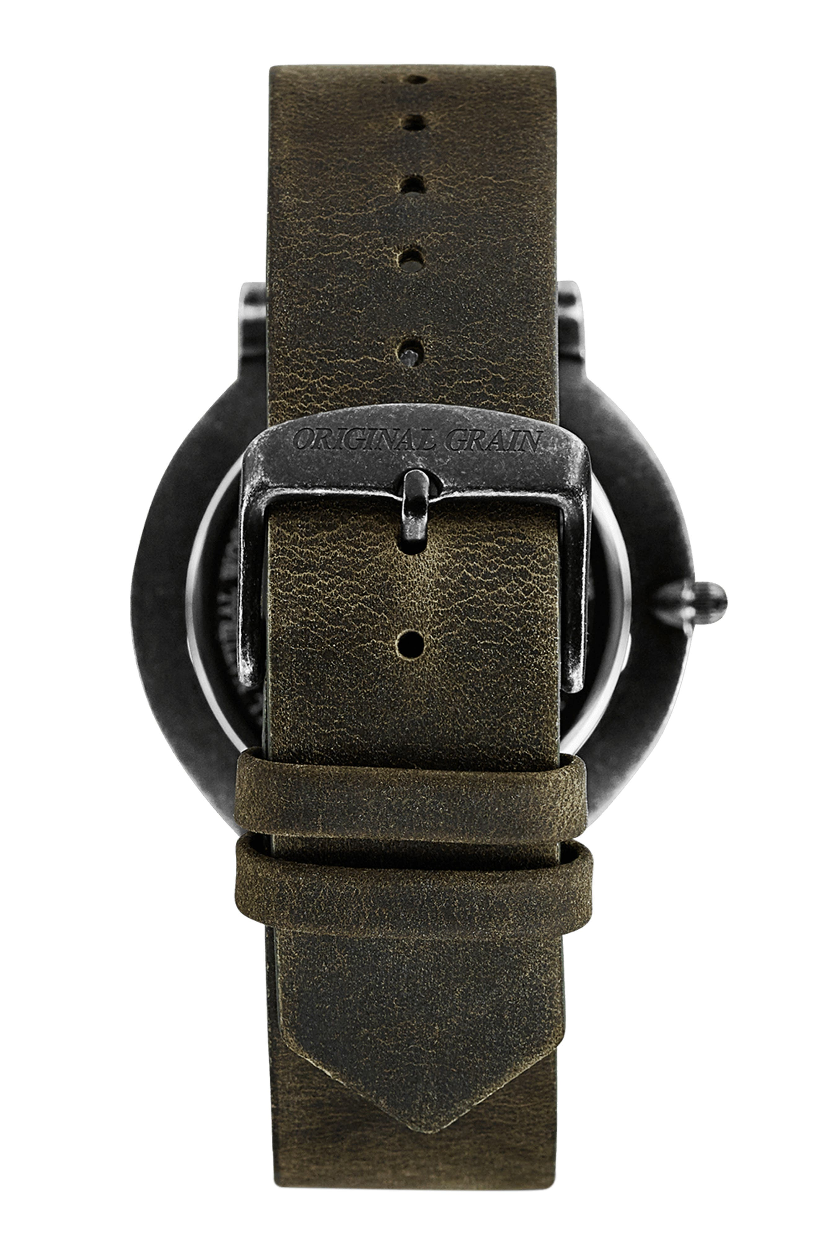 Minimalist Leather Strap Watch, 40mm,                             Alternate thumbnail 2, color,                             HONEY BROWN