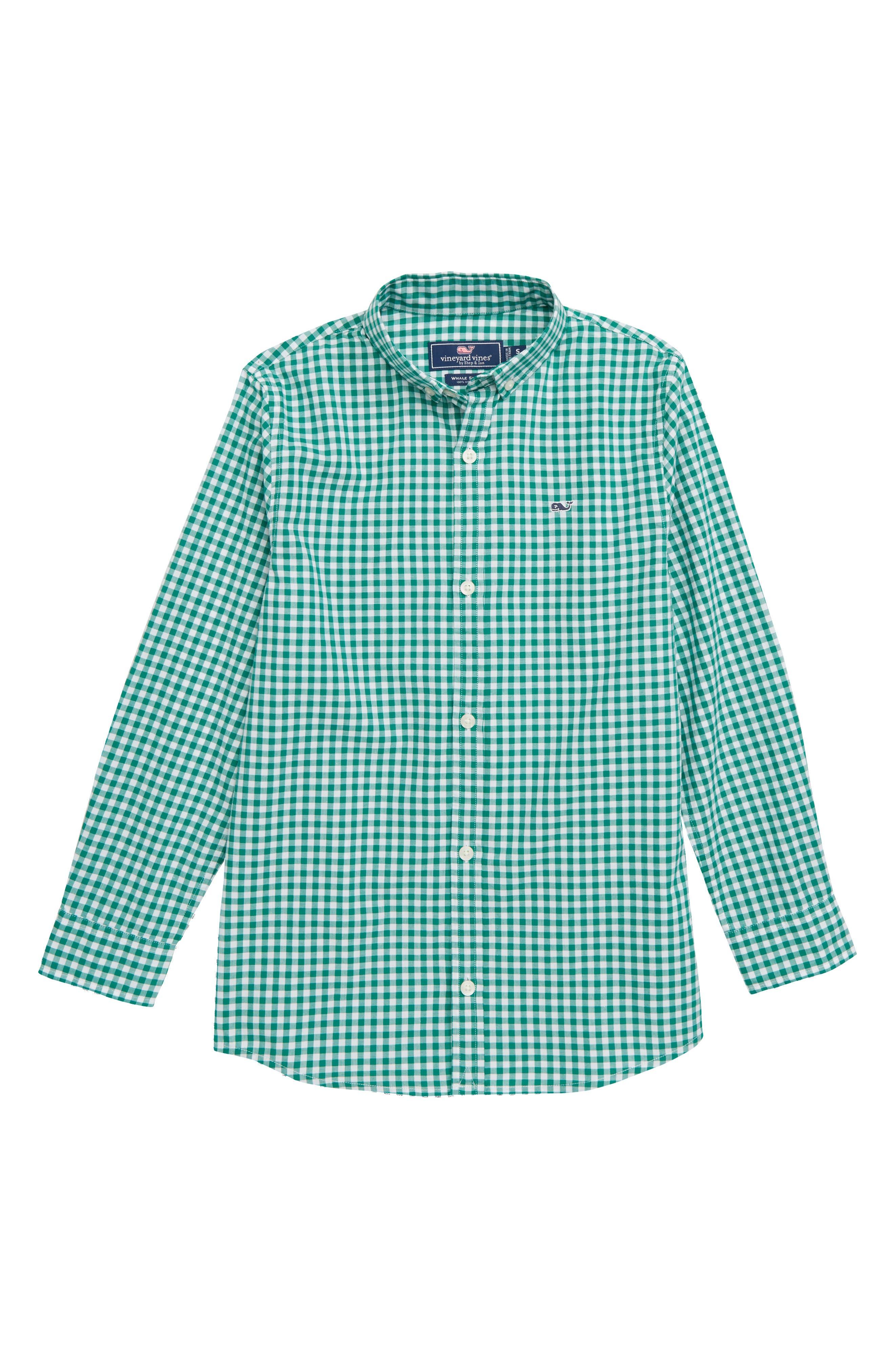 Rockridge Poplin Whale Shirt,                             Main thumbnail 1, color,                             GREEN MEADOW