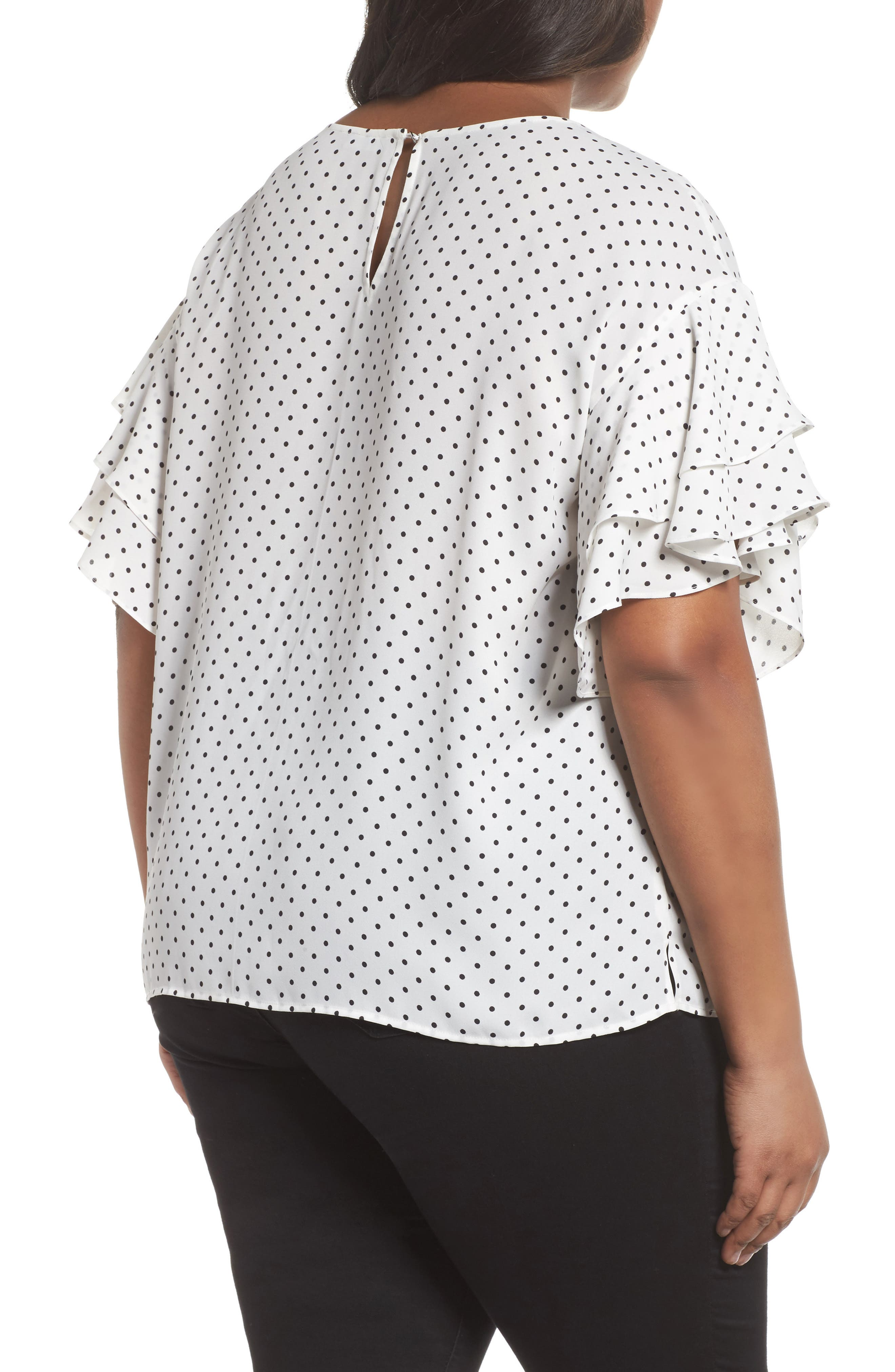 Poetic Dots Tiered Ruffle Sleeve Blouse,                             Alternate thumbnail 2, color,