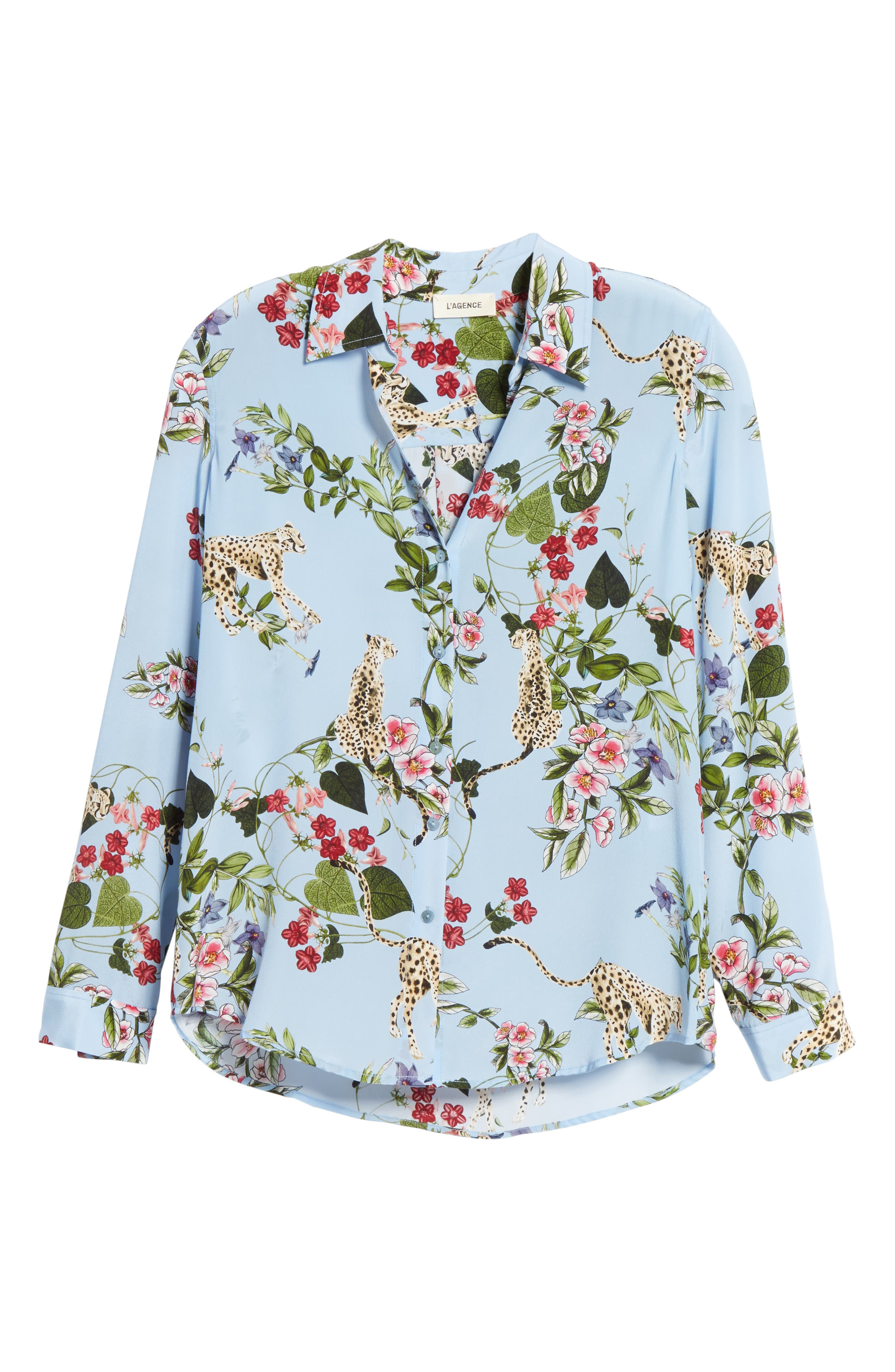 Nina Cheetah & Floral Print Silk Blouse,                             Alternate thumbnail 6, color,                             SKY BLUE MULTI