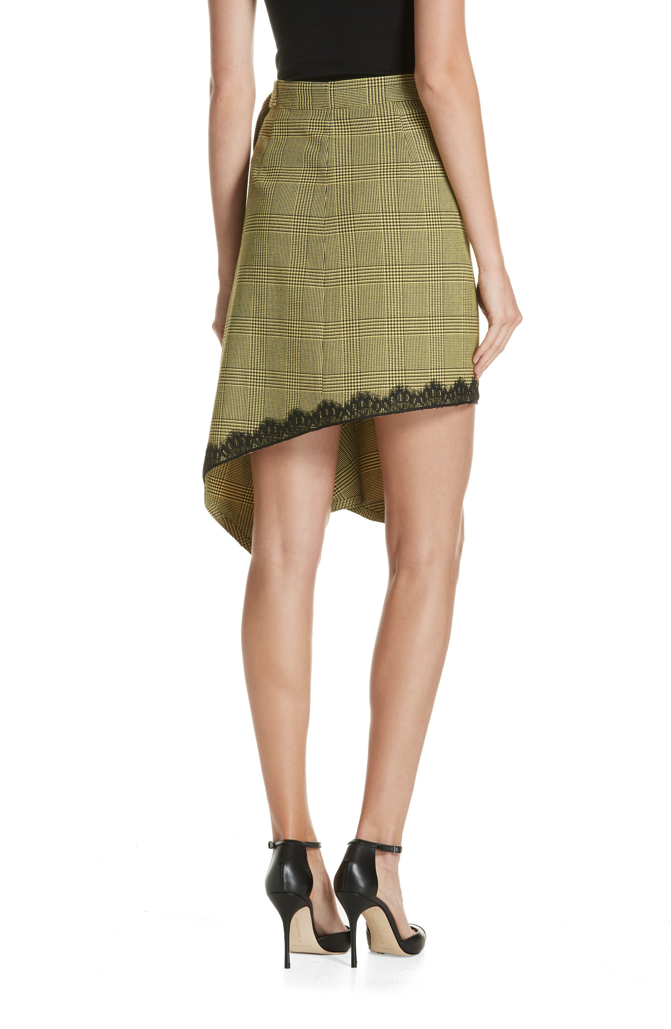 Lace Trim Plaid Skirt,                             Alternate thumbnail 2, color,                             BLACK/ YELLOW