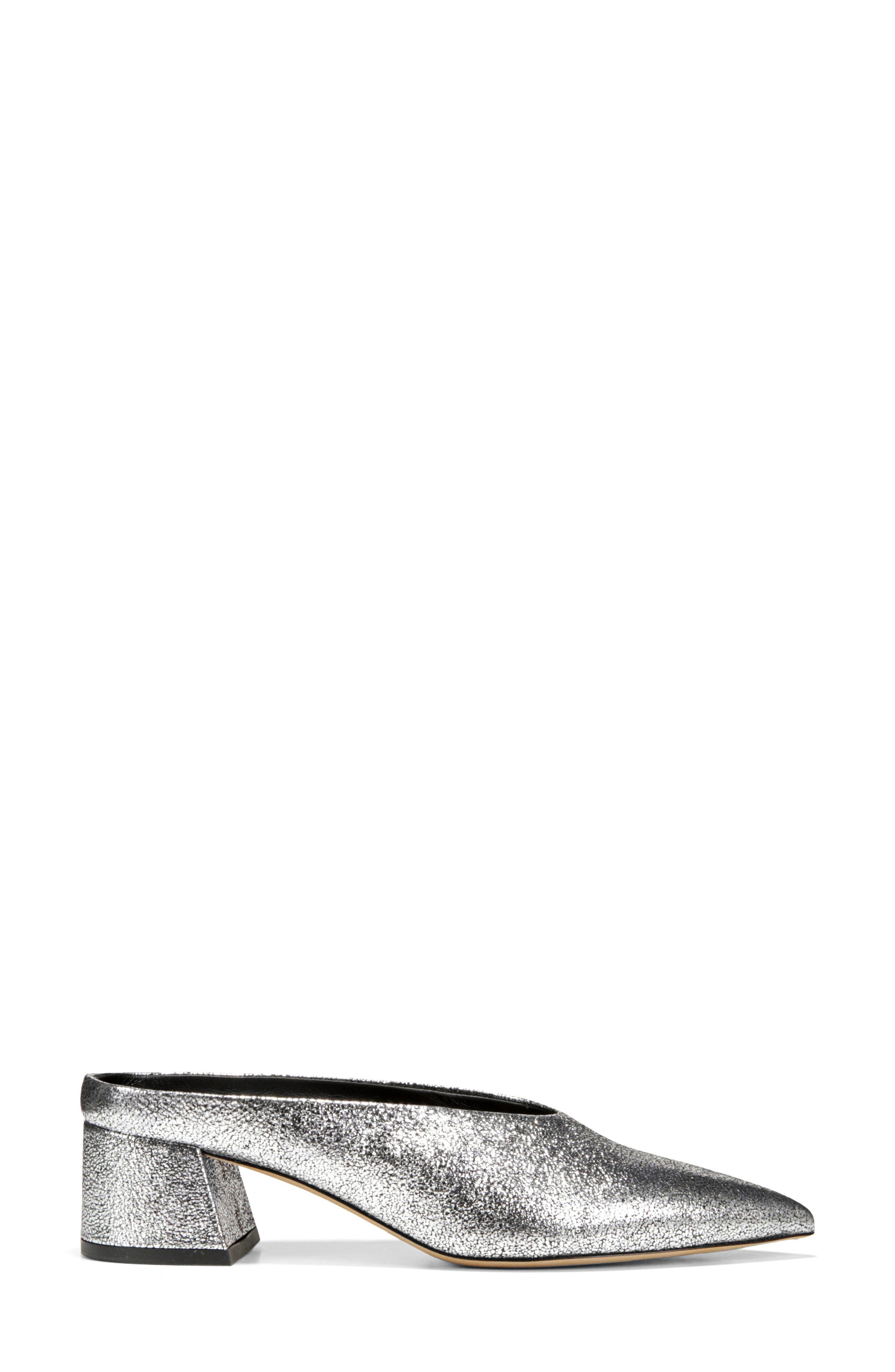Ralston Pointy Toe Mule,                             Alternate thumbnail 3, color,                             SILVER METALLIC