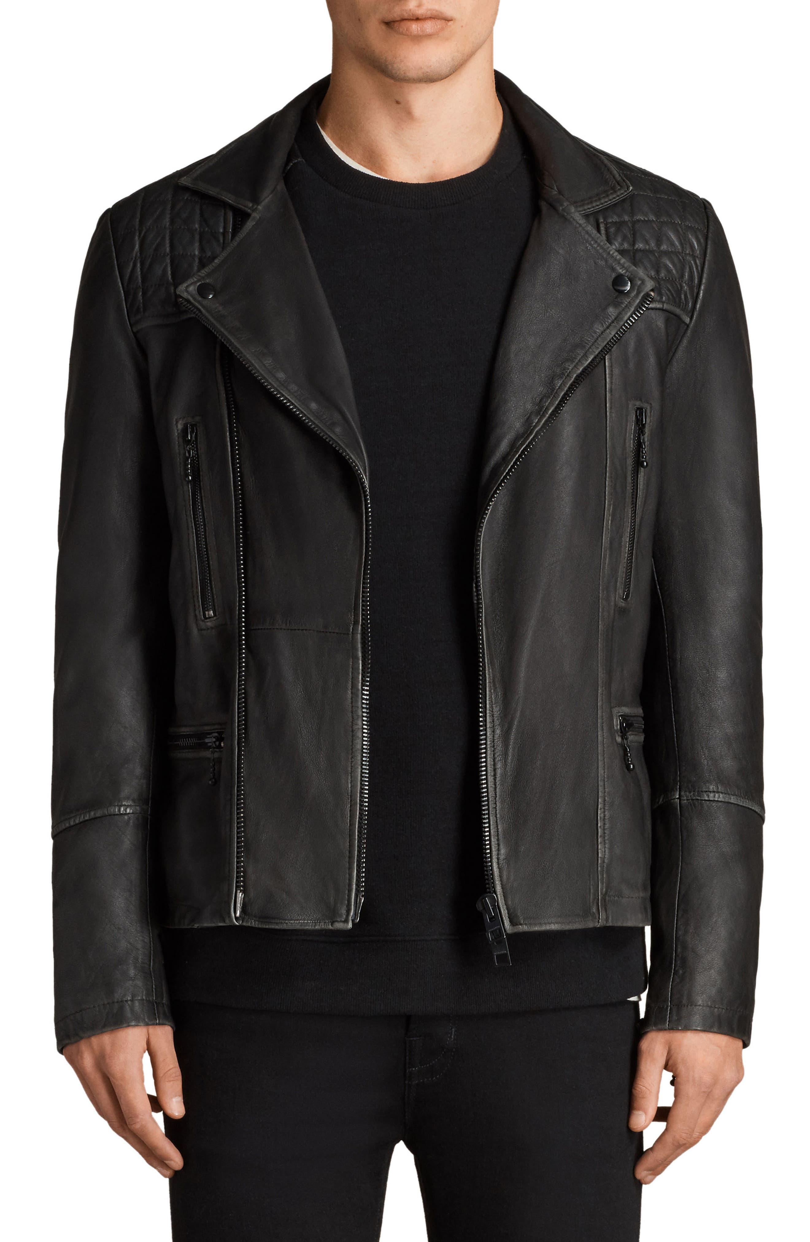 Cargo Biker Slim Fit Leather Jacket,                         Main,                         color, BLACK GREY