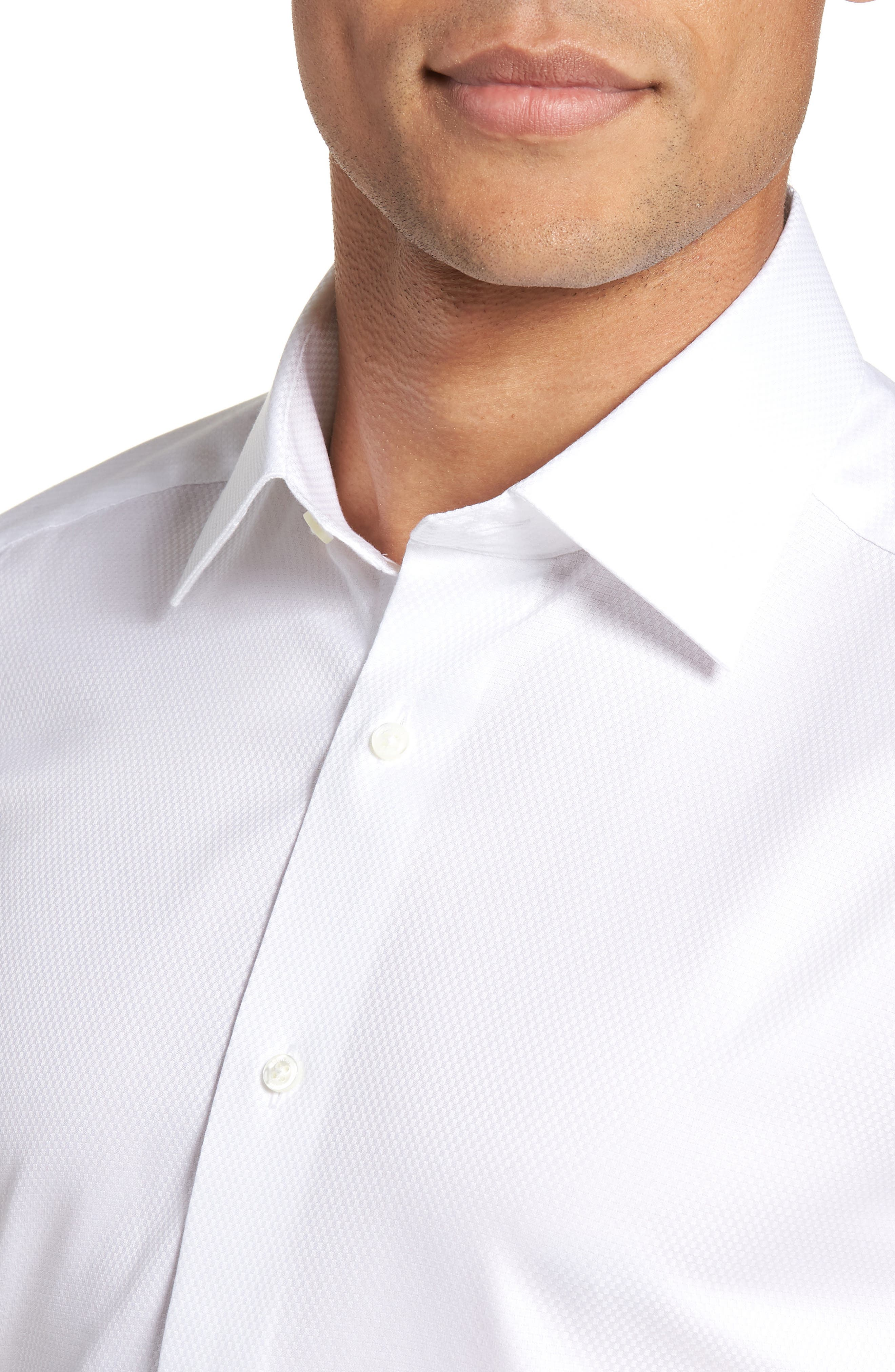 Trim Fit Solid French Cuff Tuxedo Shirt,                             Alternate thumbnail 2, color,                             WHITE
