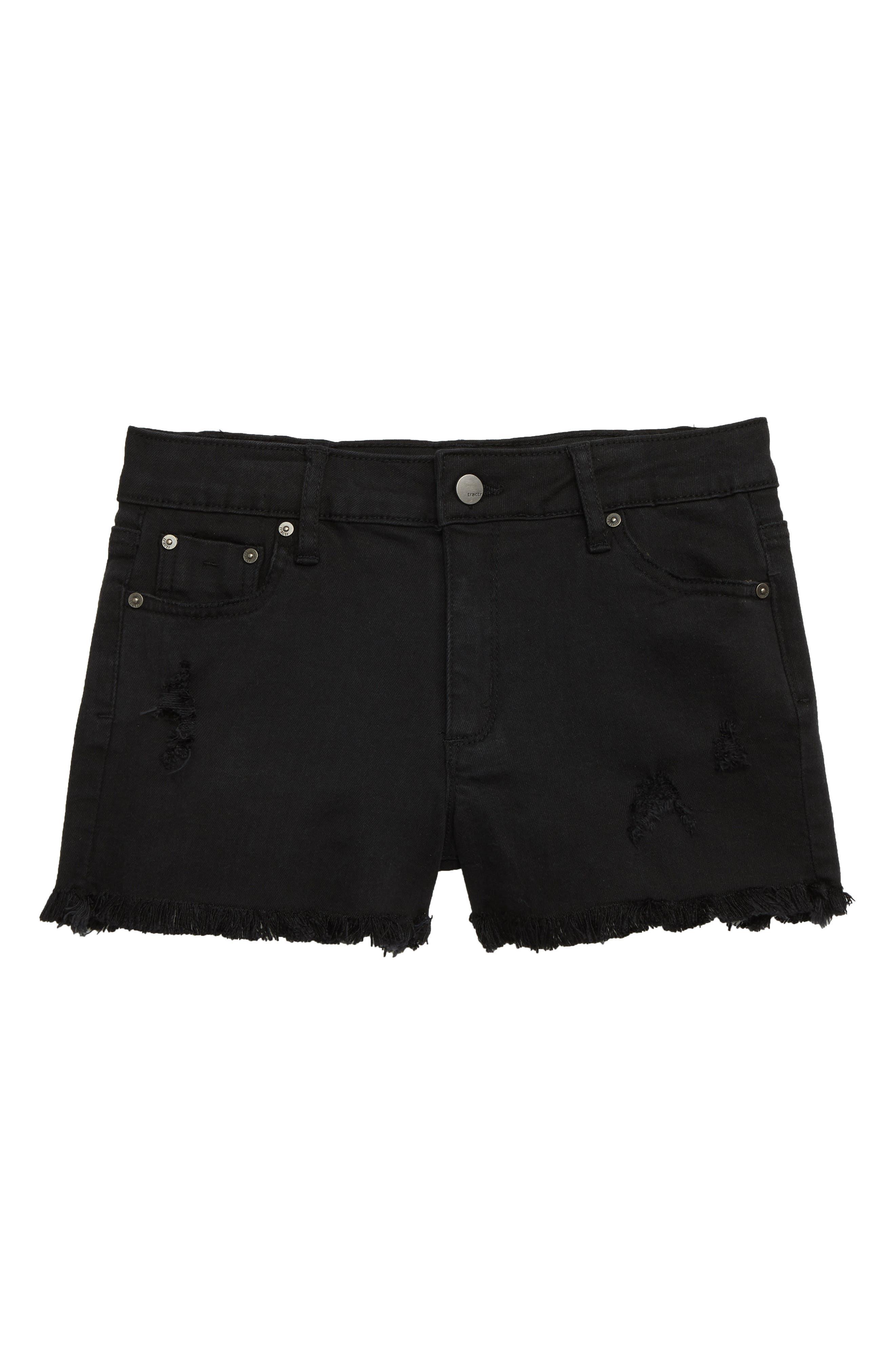Cutoff Denim Shorts, Main, color, BLACK