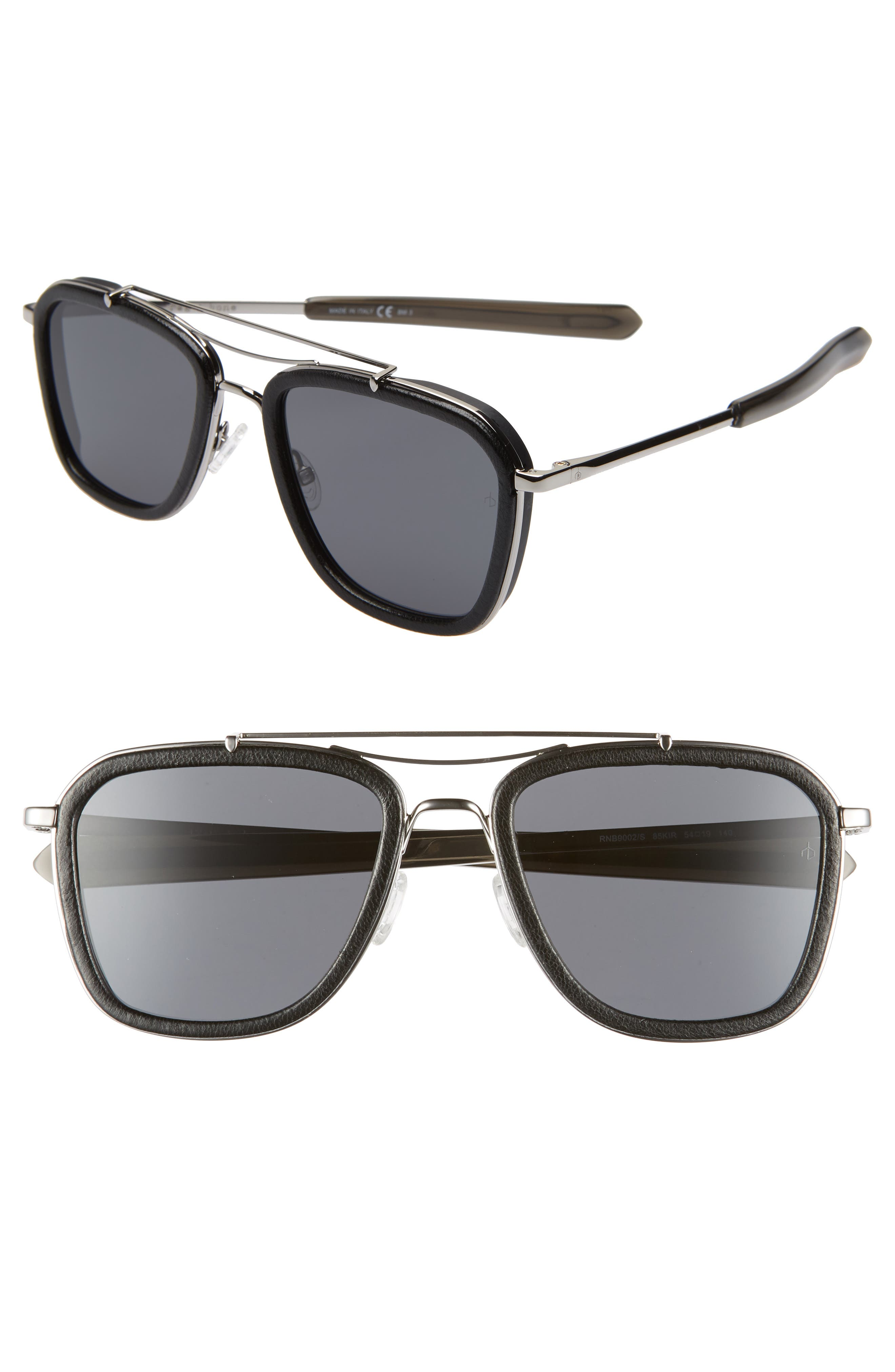 Phantom 54mm Aviator Sunglasses, Main, color, RUTHENIUM/ BLACK