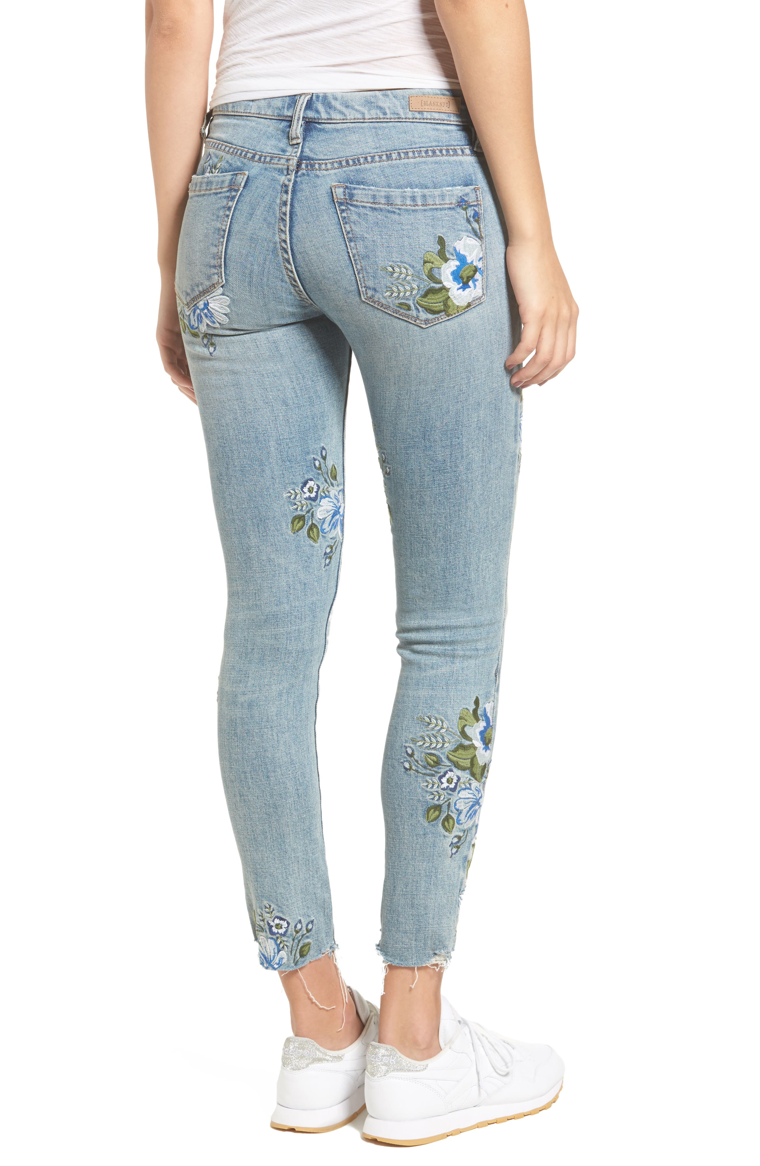 Floral Embroidered Skinny Jeans,                             Alternate thumbnail 2, color,                             400