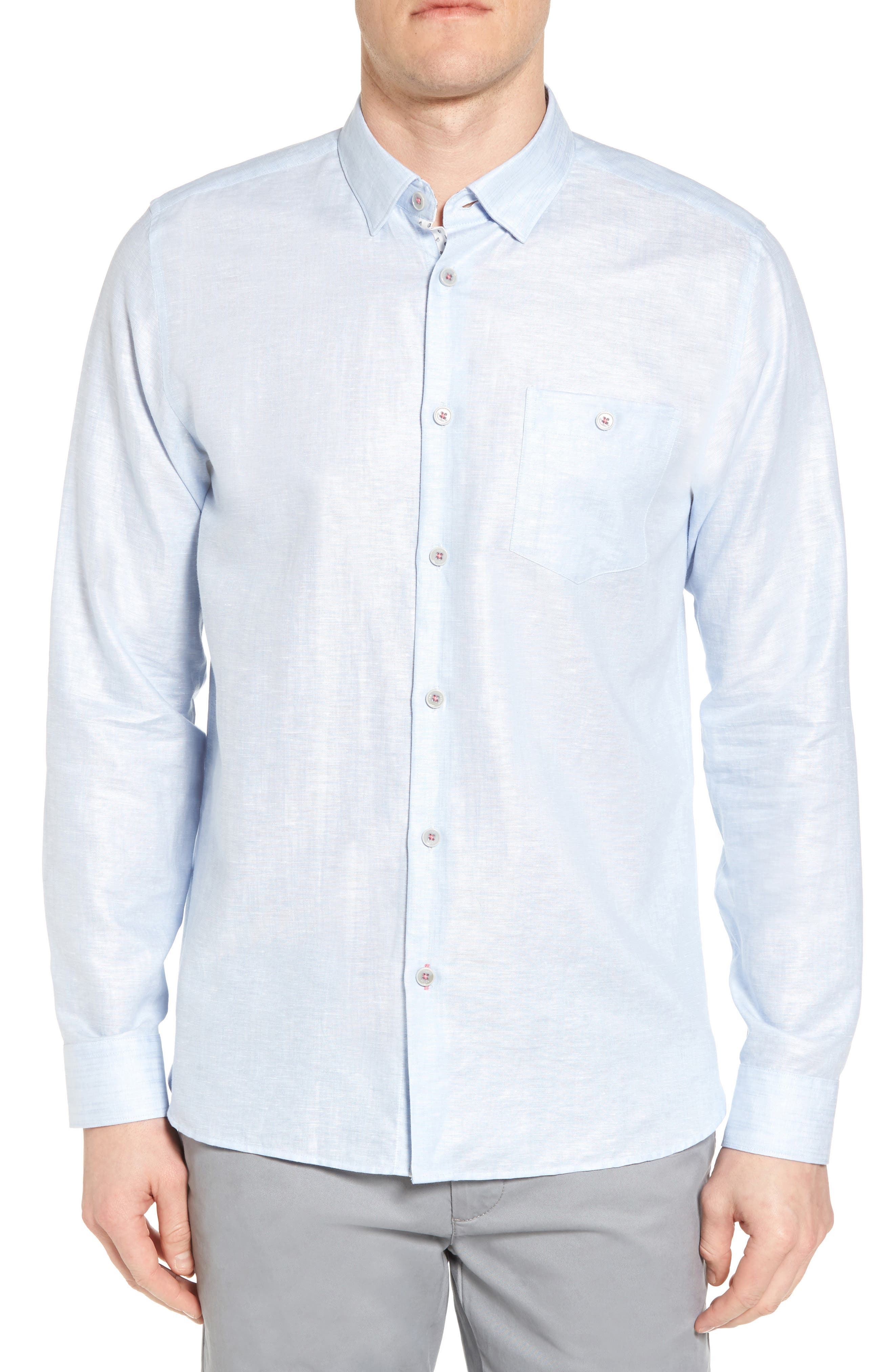 Linlins Herringbone Cotton & Linen Sport Shirt,                             Main thumbnail 3, color,