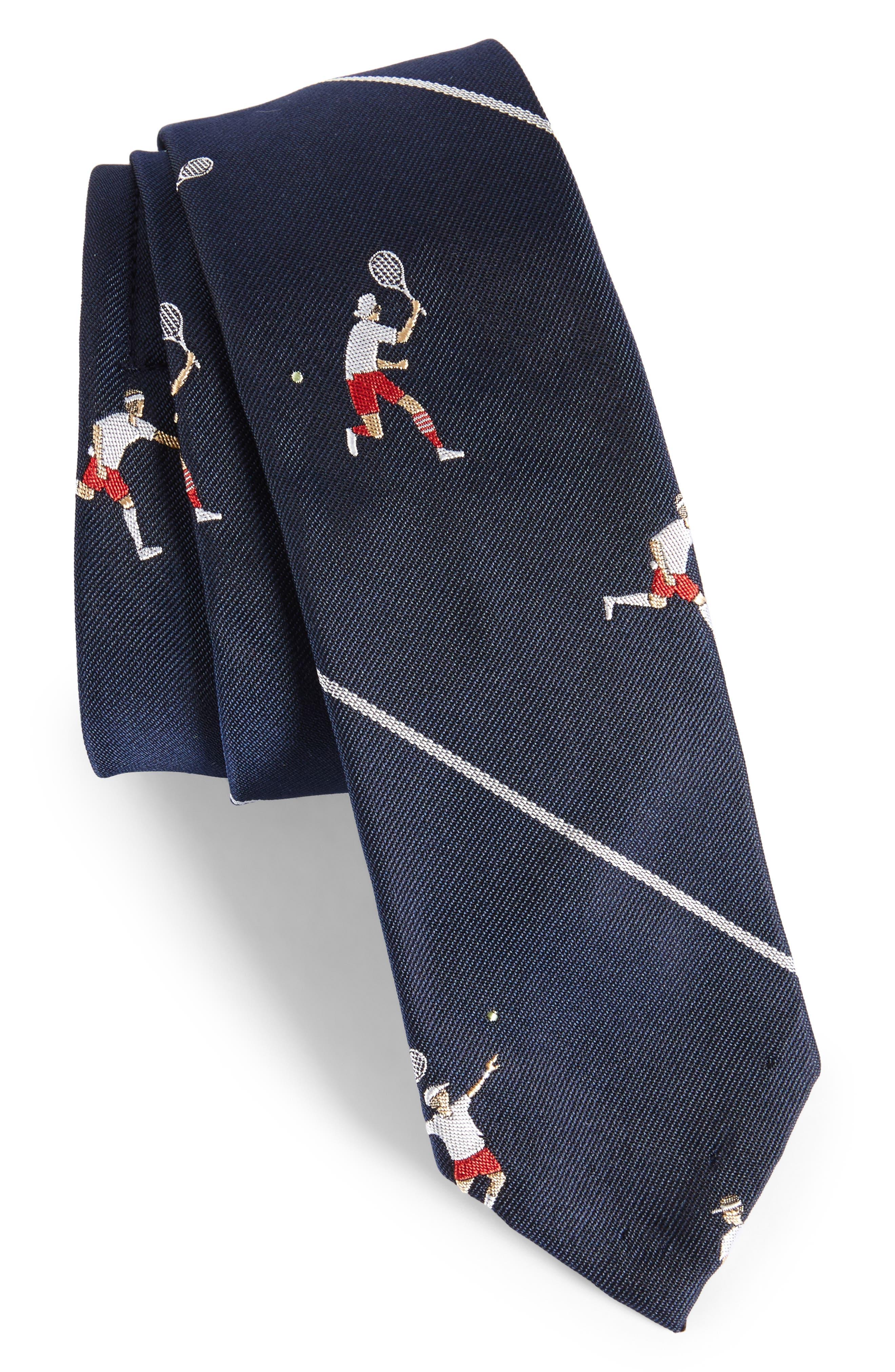 Tennis Player Silk Skinny Tie,                             Main thumbnail 1, color,                             415