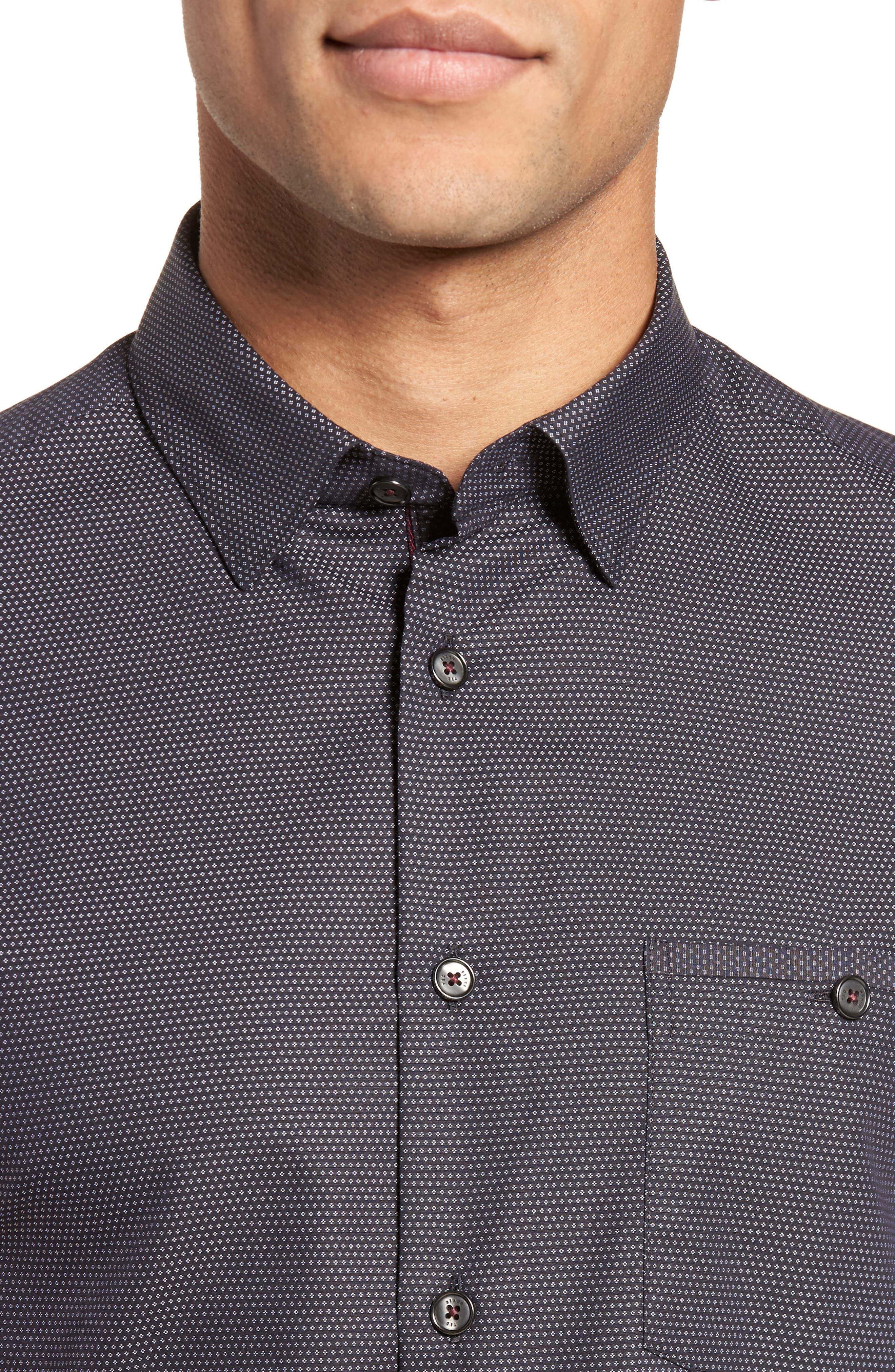 Dotdots Trim Fit Dot Short Sleeve Sport Shirt,                             Alternate thumbnail 4, color,                             001