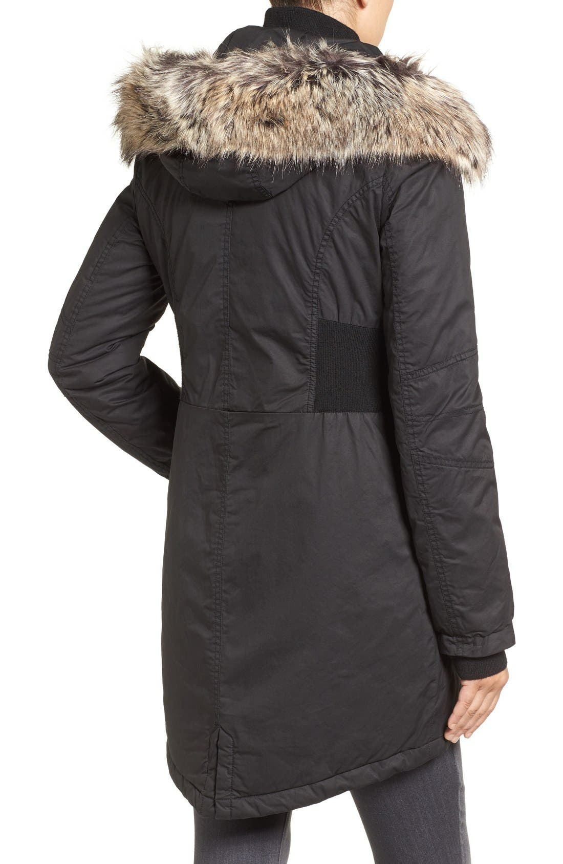 Mixed Media Parka with Faux Fur Trim Hood,                             Alternate thumbnail 4, color,