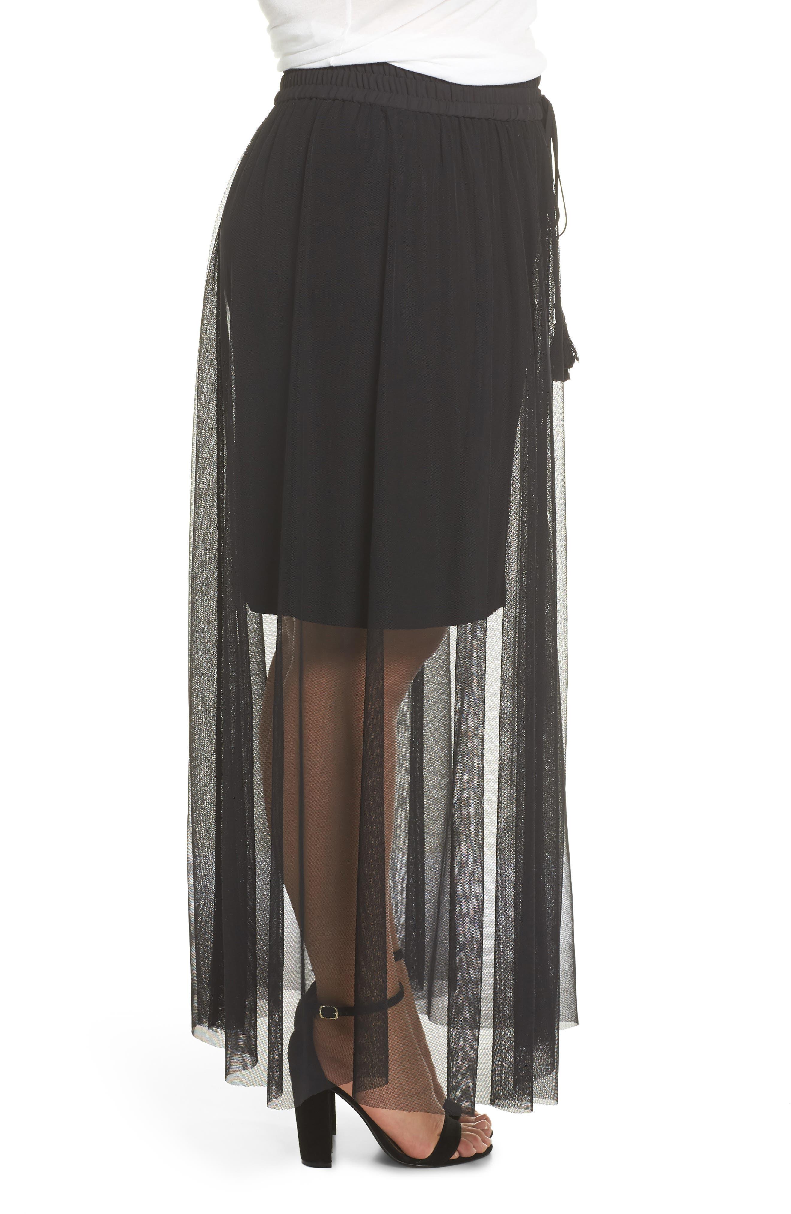 Side Tie Mesh Overlay Maxi Skirt,                             Alternate thumbnail 3, color,