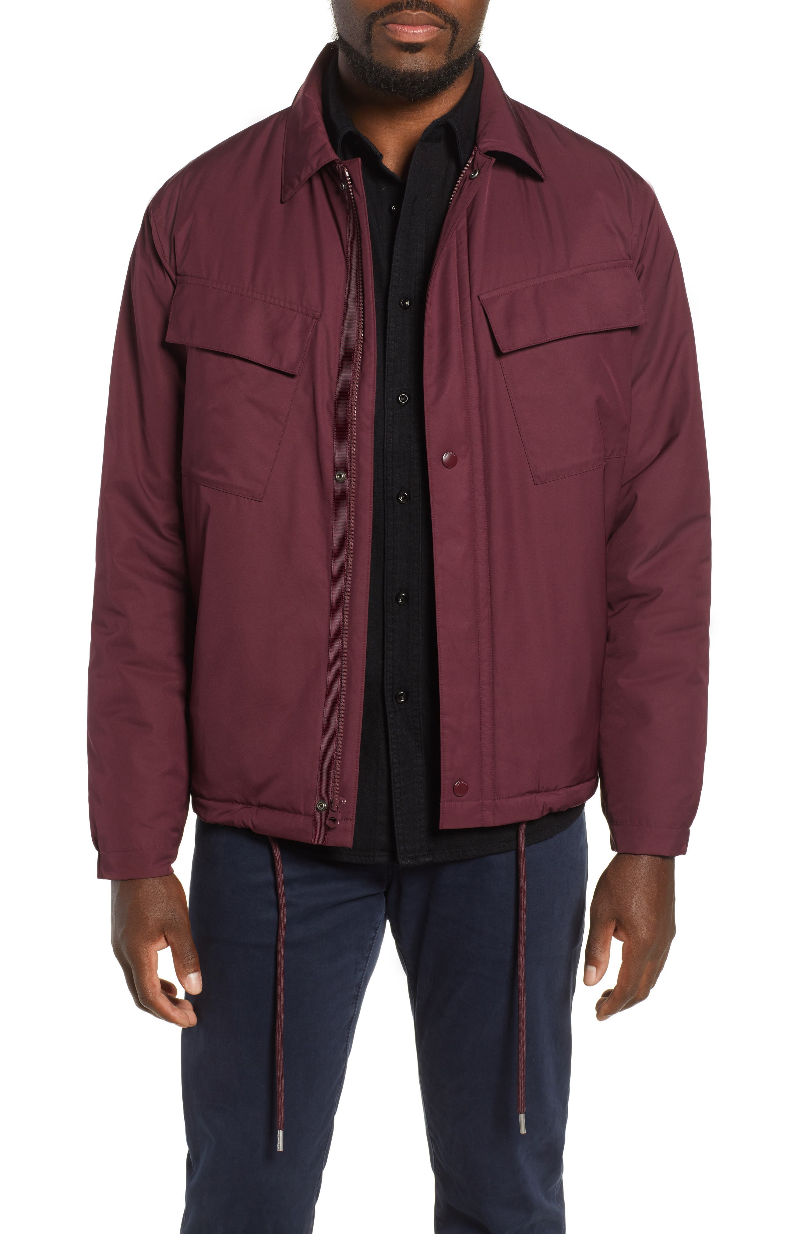 Coaches Jacket,                             Main thumbnail 1, color,                             BURGUNDY