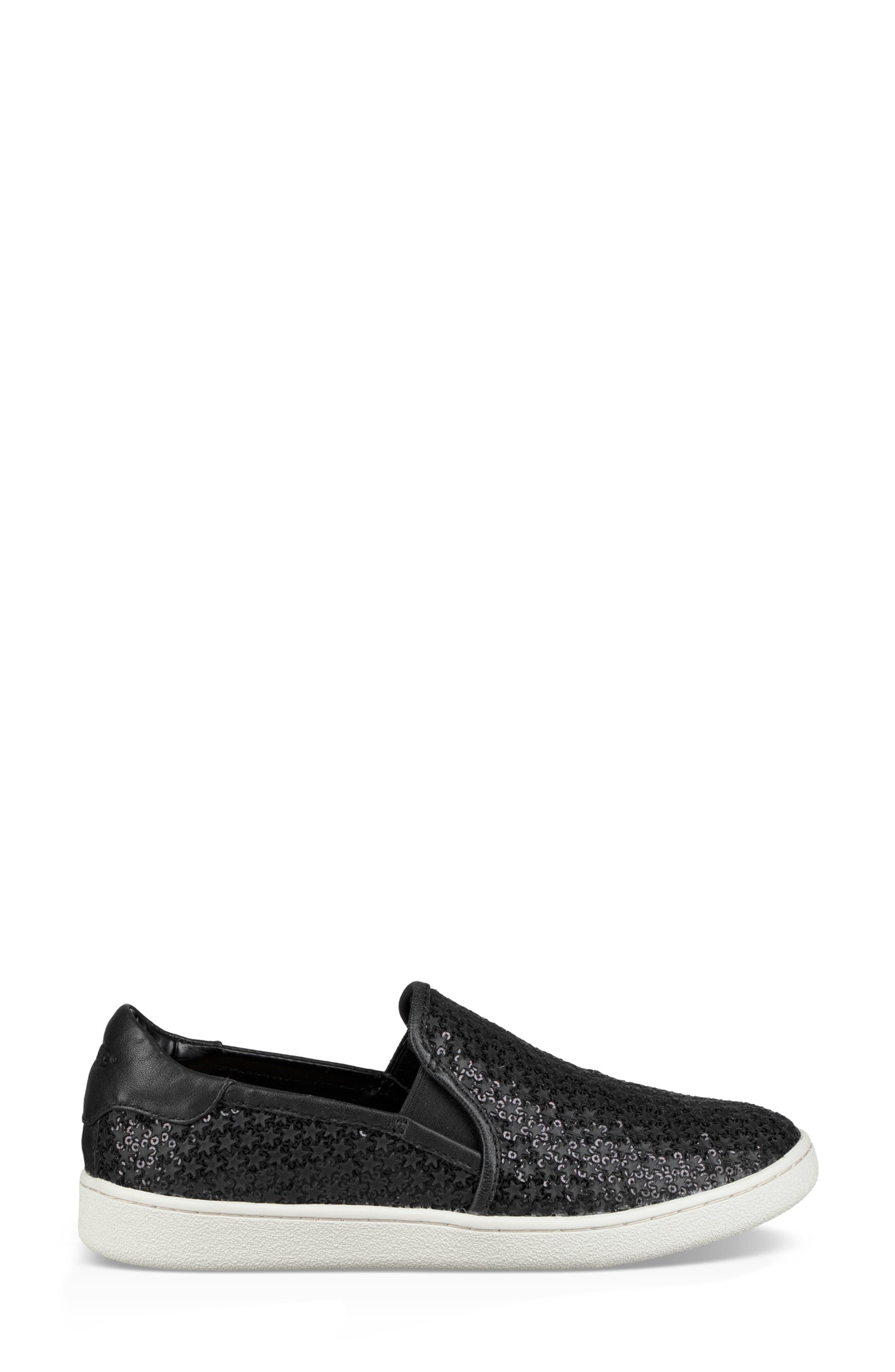 Cas Glitter Sneaker,                             Alternate thumbnail 3, color,                             BLACK