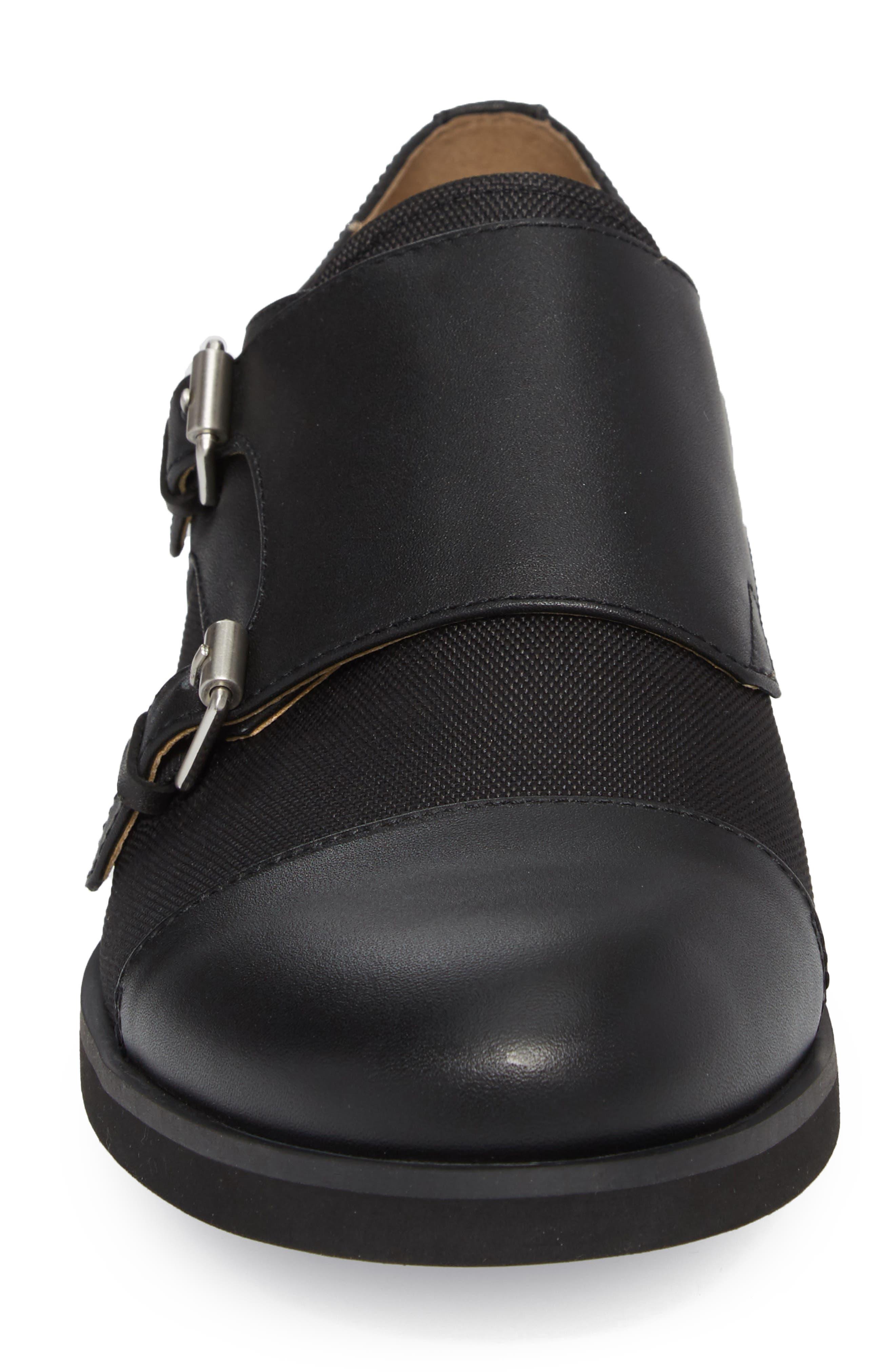 Finch Double Monk Strap Shoe,                             Alternate thumbnail 4, color,                             001
