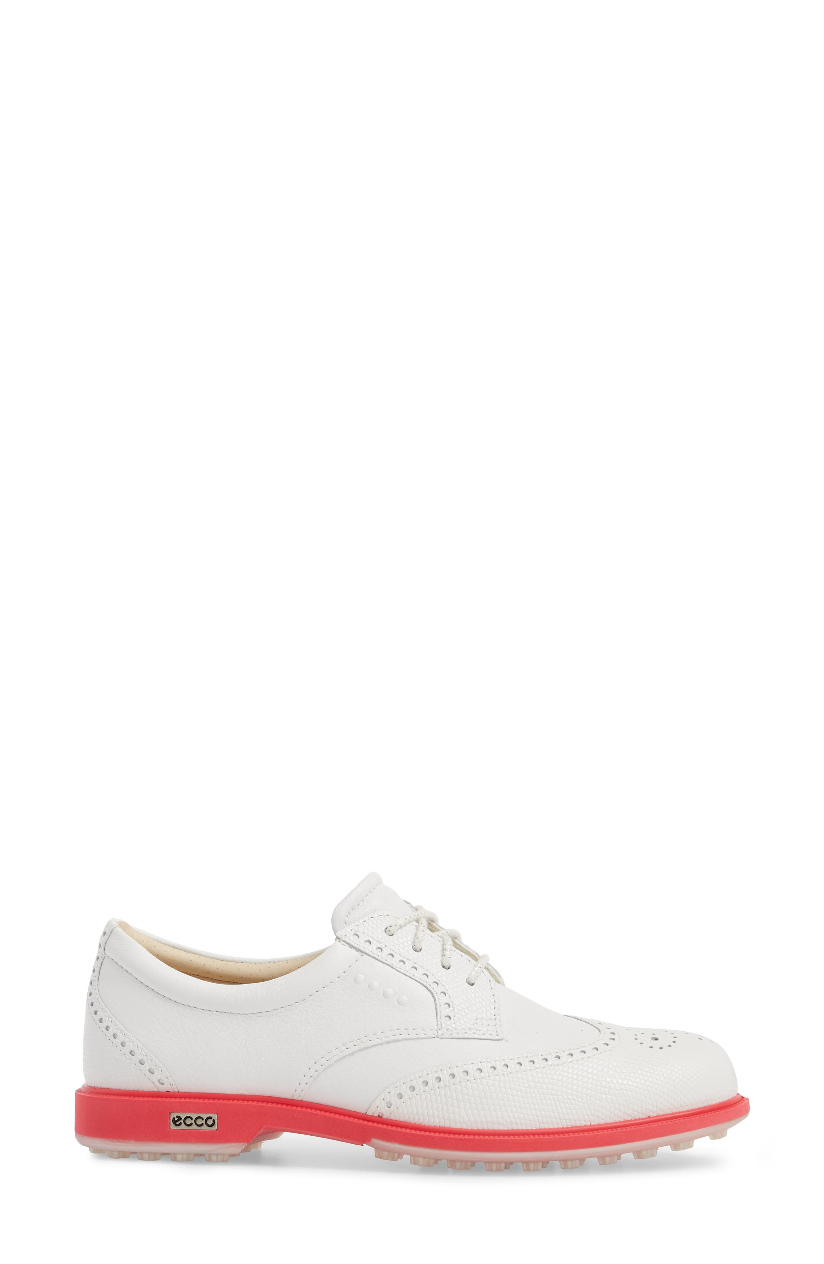 'Tour' Hybrid Wingtip Golf Shoe,                             Alternate thumbnail 3, color,                             WHITE LEATHER/ RED