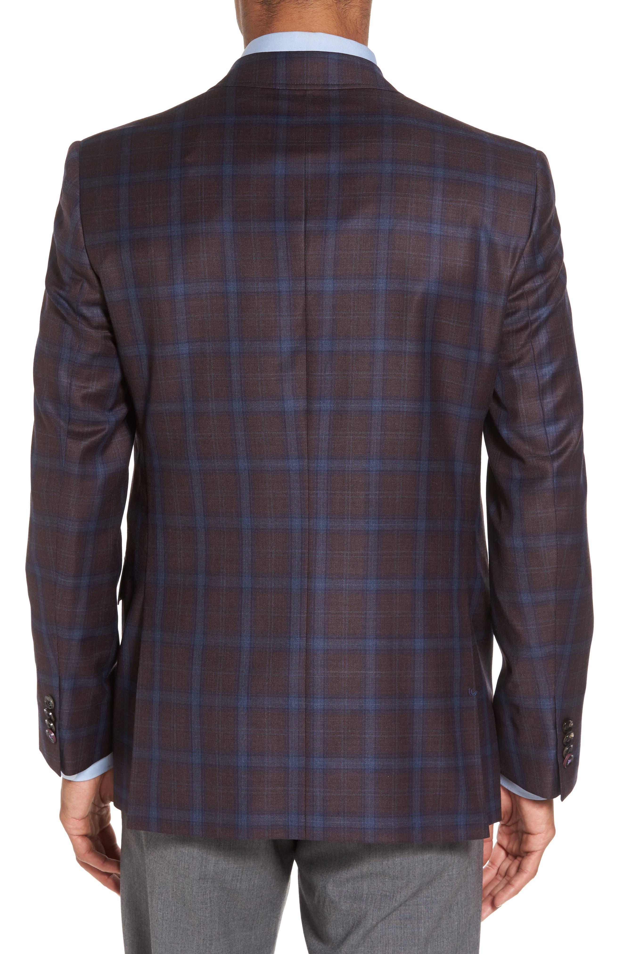 Jay Trim Fit Plaid Wool Sport Coat,                             Alternate thumbnail 2, color,                             932