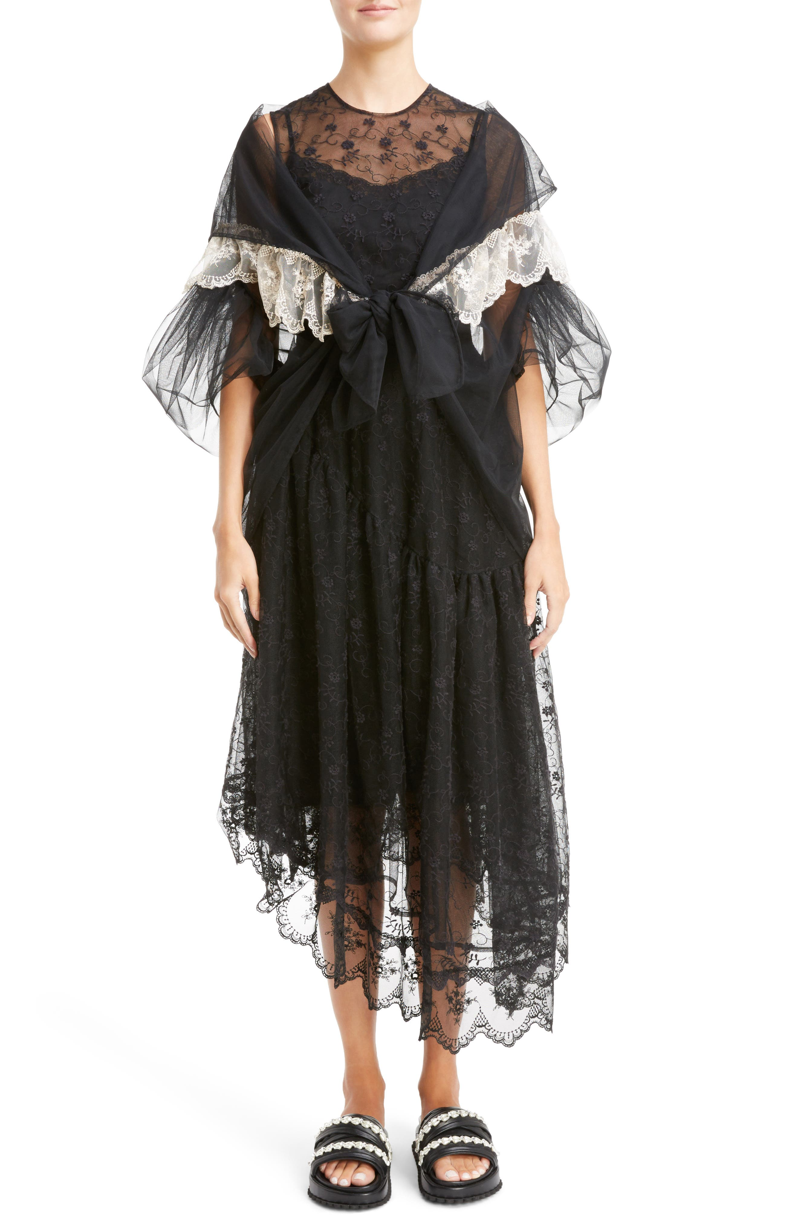 Lace Trim Tulle Wrap with Sleeves,                             Alternate thumbnail 7, color,                             001