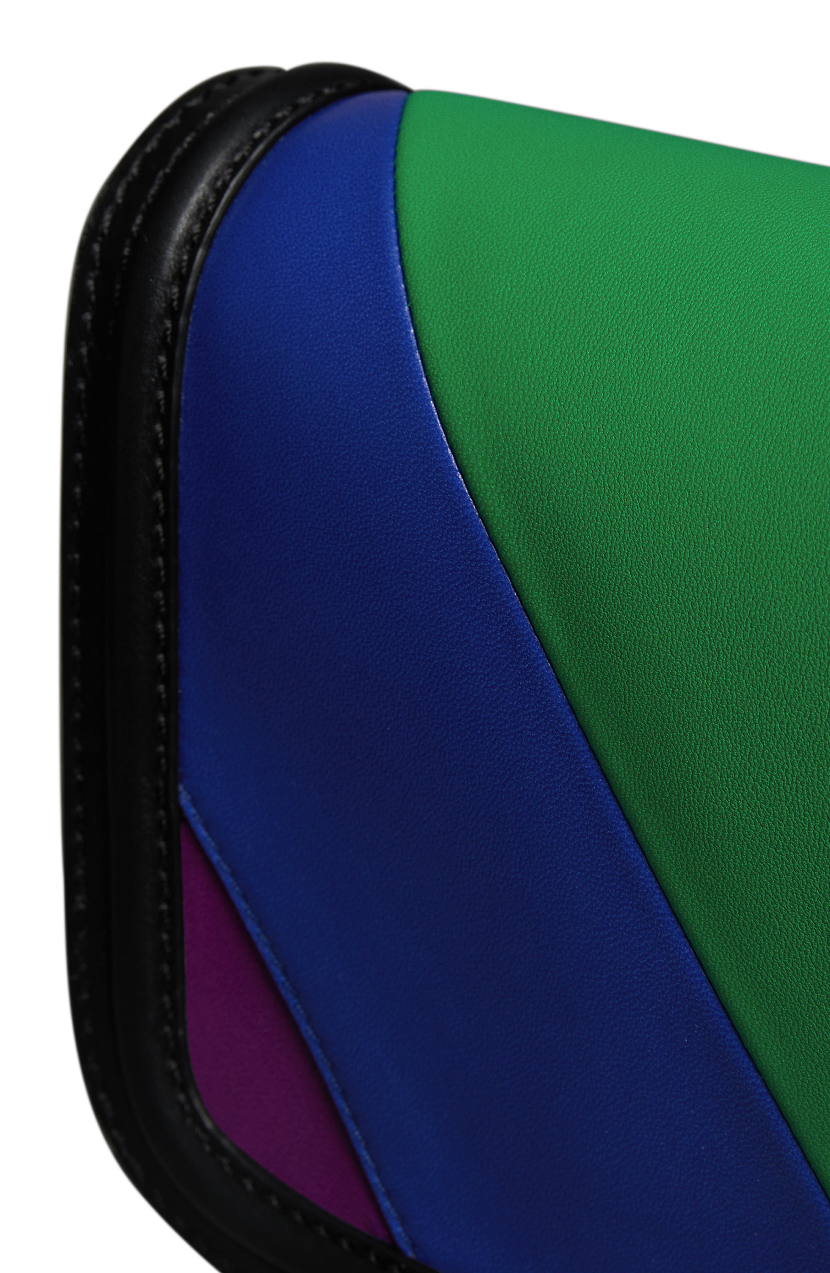 Rainbow Stripe Link Flap Leather Crossbody Bag,                             Alternate thumbnail 2, color,                             001