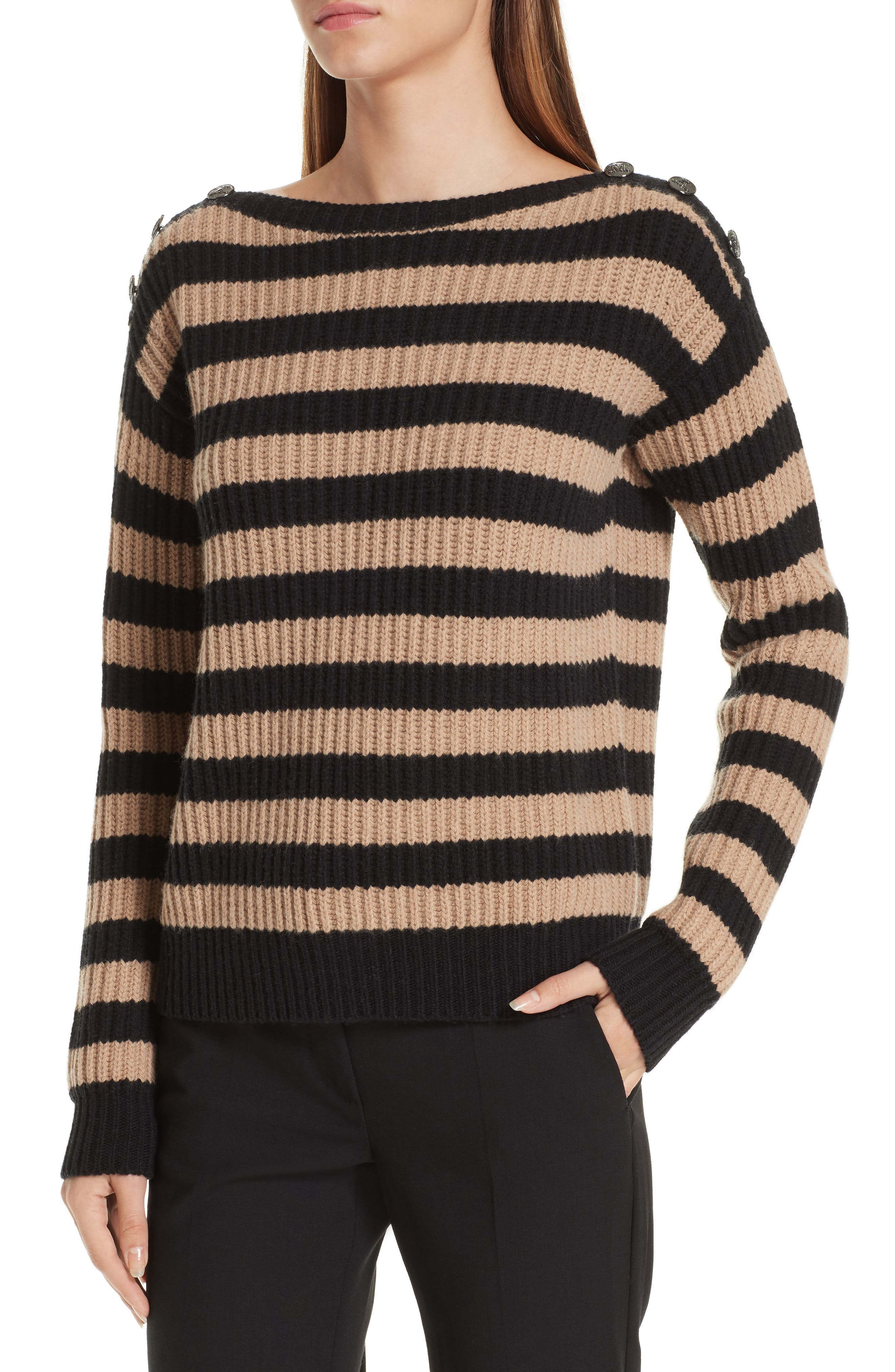Salpa Stripe Wool & Cashmere Pullover,                             Alternate thumbnail 4, color,                             STRIPED CAMEL
