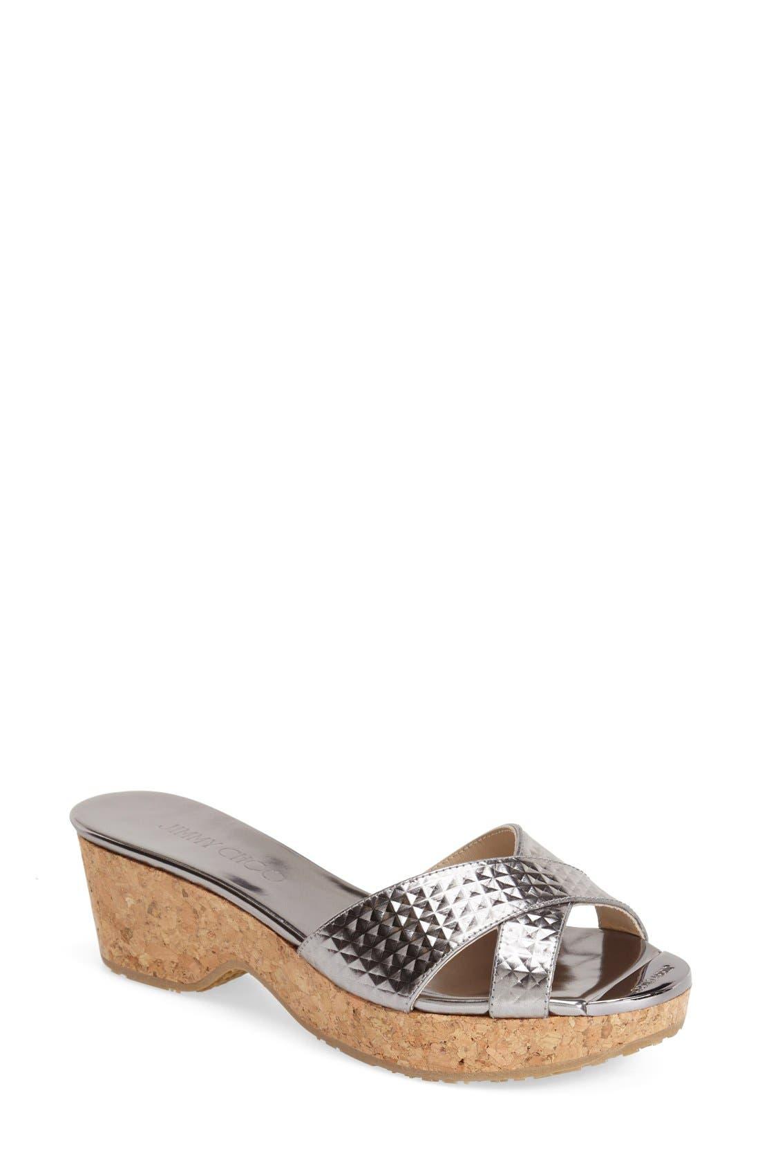 'Panna' Cork Wedge Slide Sandal, Main, color, 040
