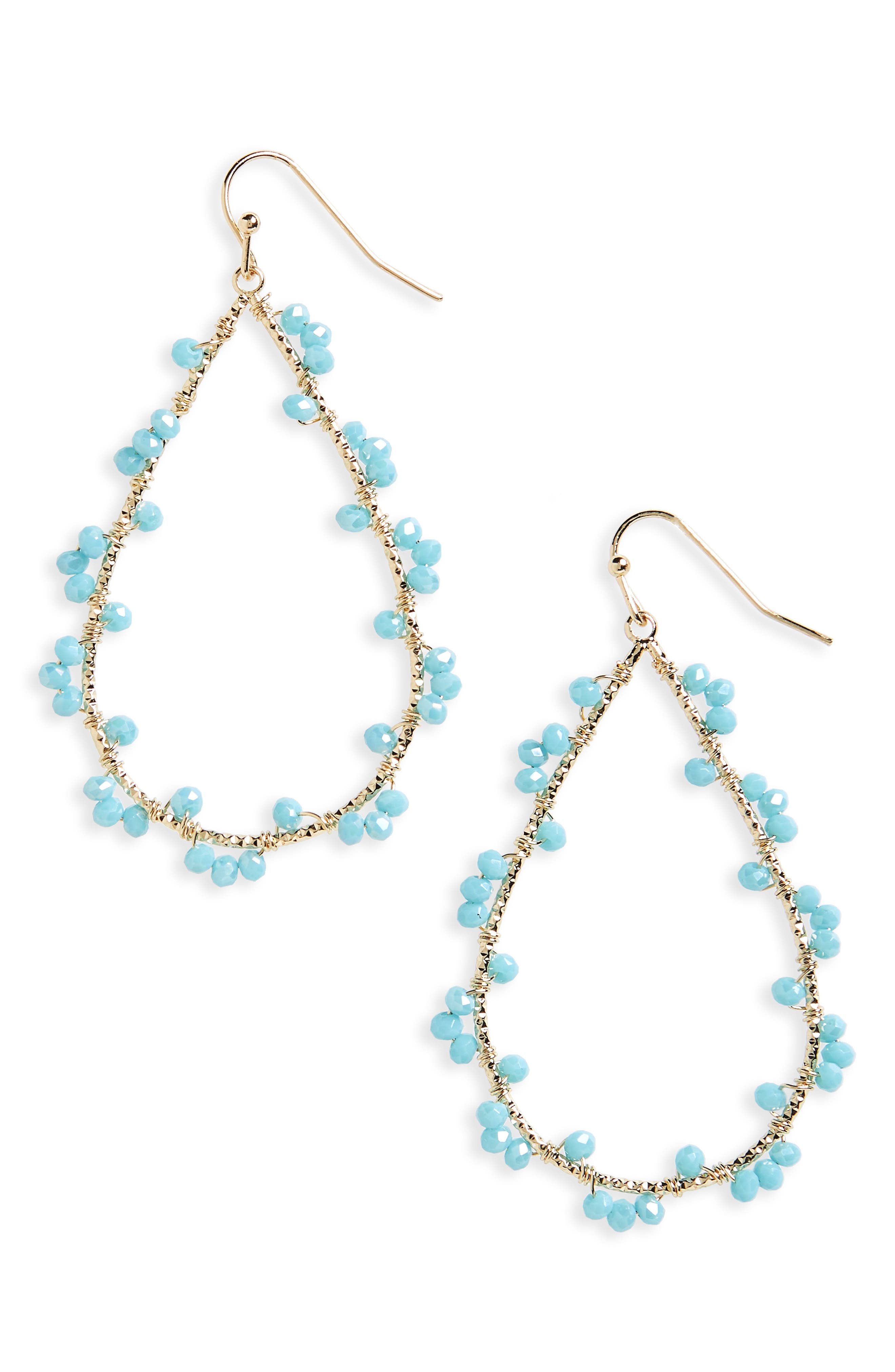 Wired Glass Bead Teardrop Earrings,                             Main thumbnail 1, color,