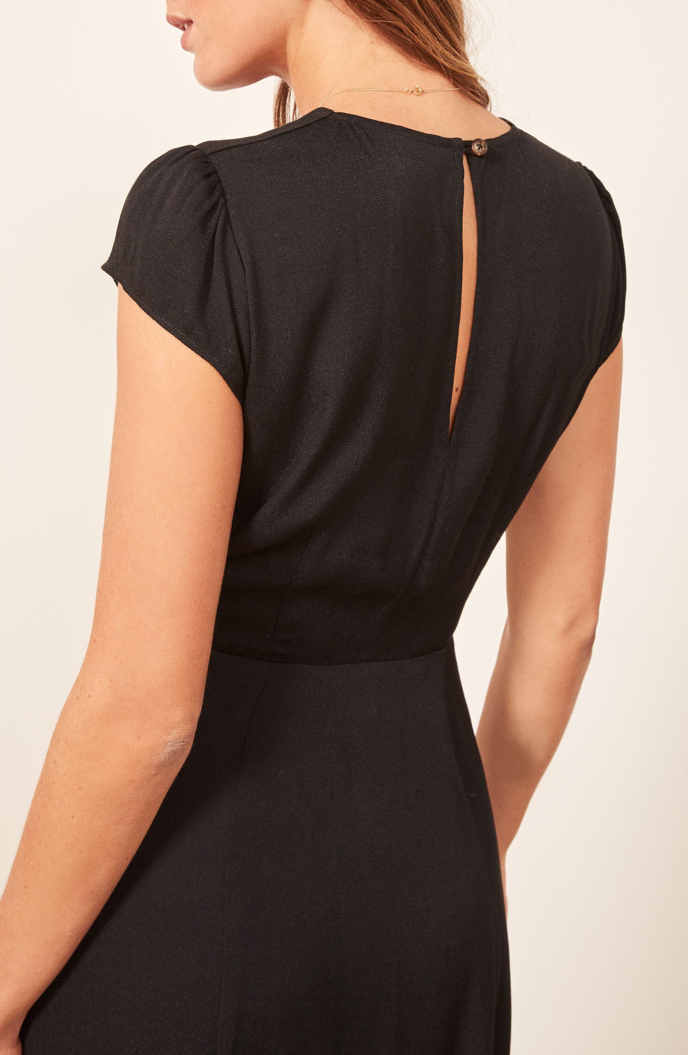 Fauna Front Button Midi Dress,                             Alternate thumbnail 3, color,                             BLACK