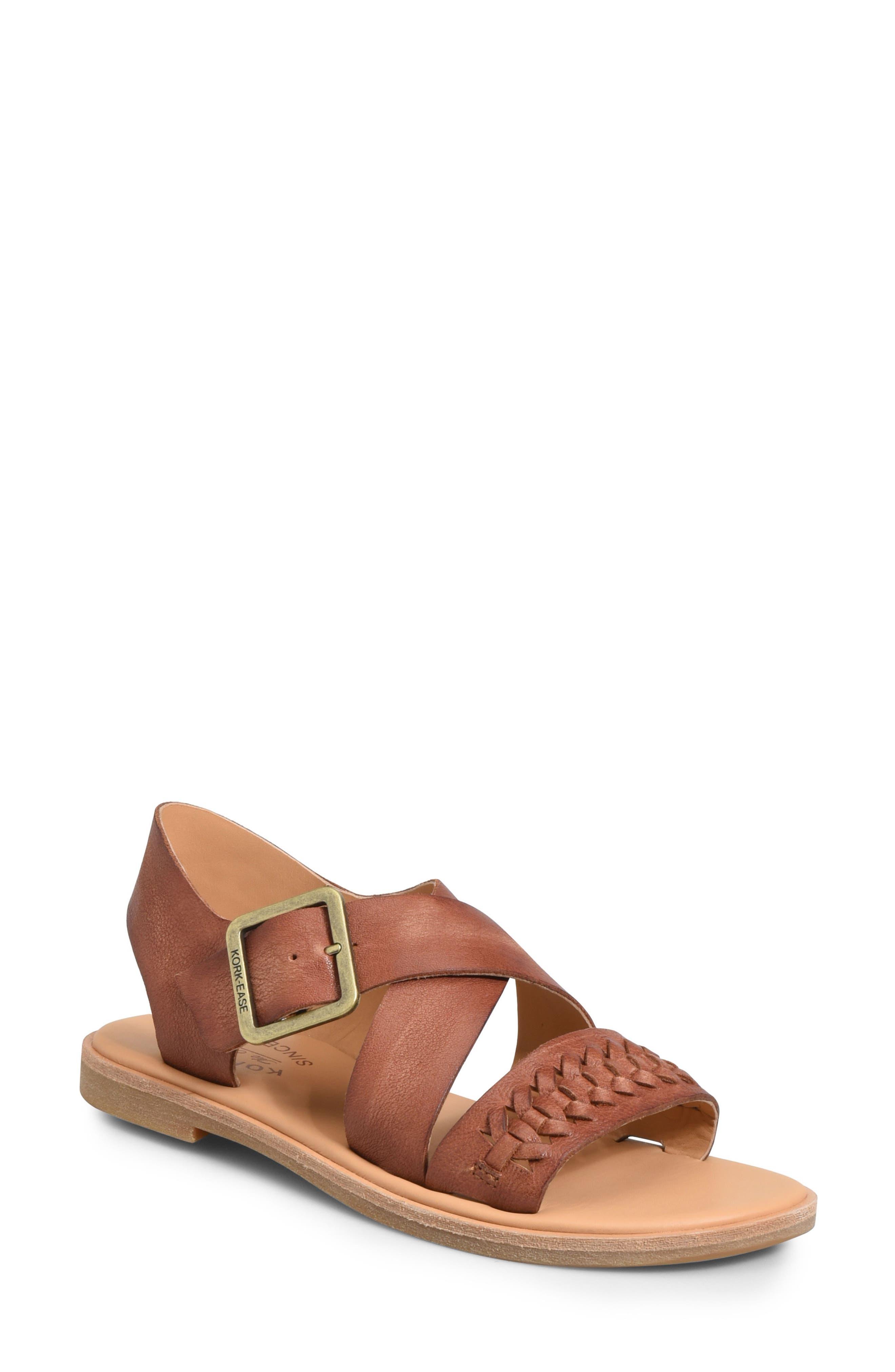 Nara Braid Sandal,                         Main,                         color, BROWN LEATHER