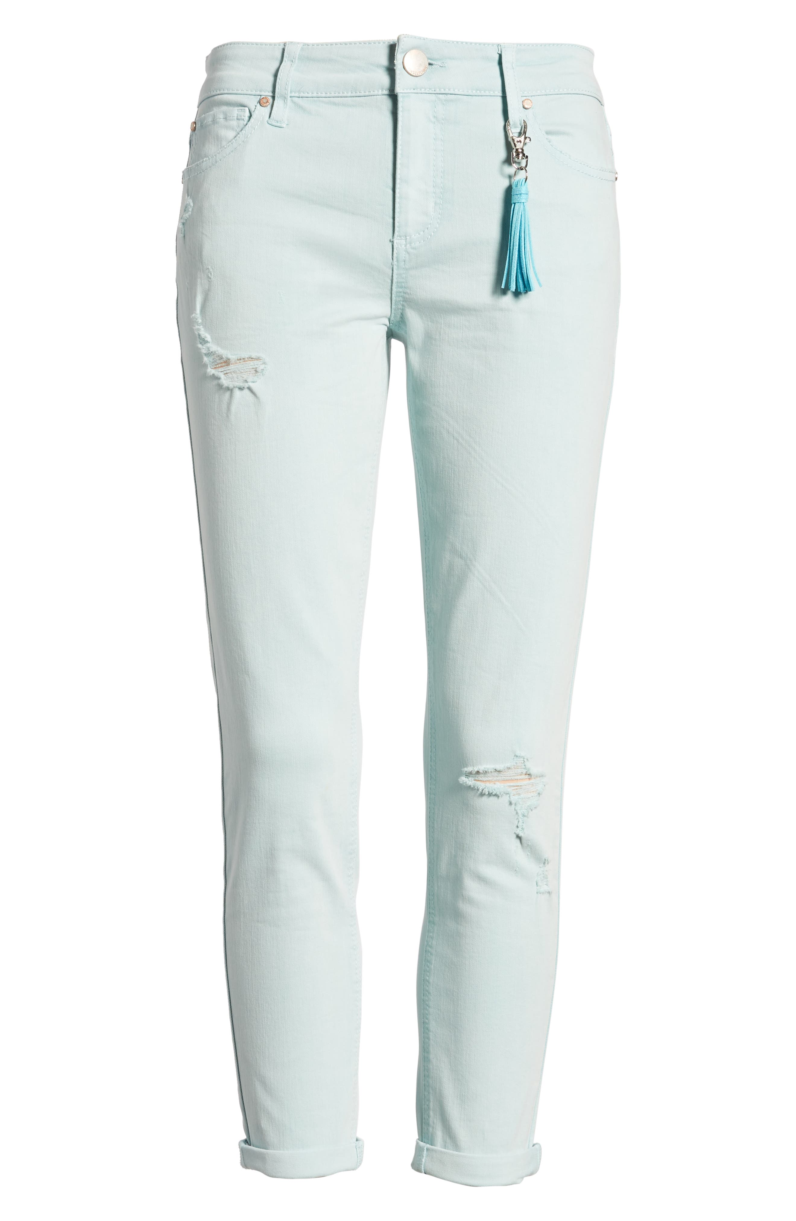 Distressed Roll Cuff Skinny Jeans,                             Alternate thumbnail 22, color,