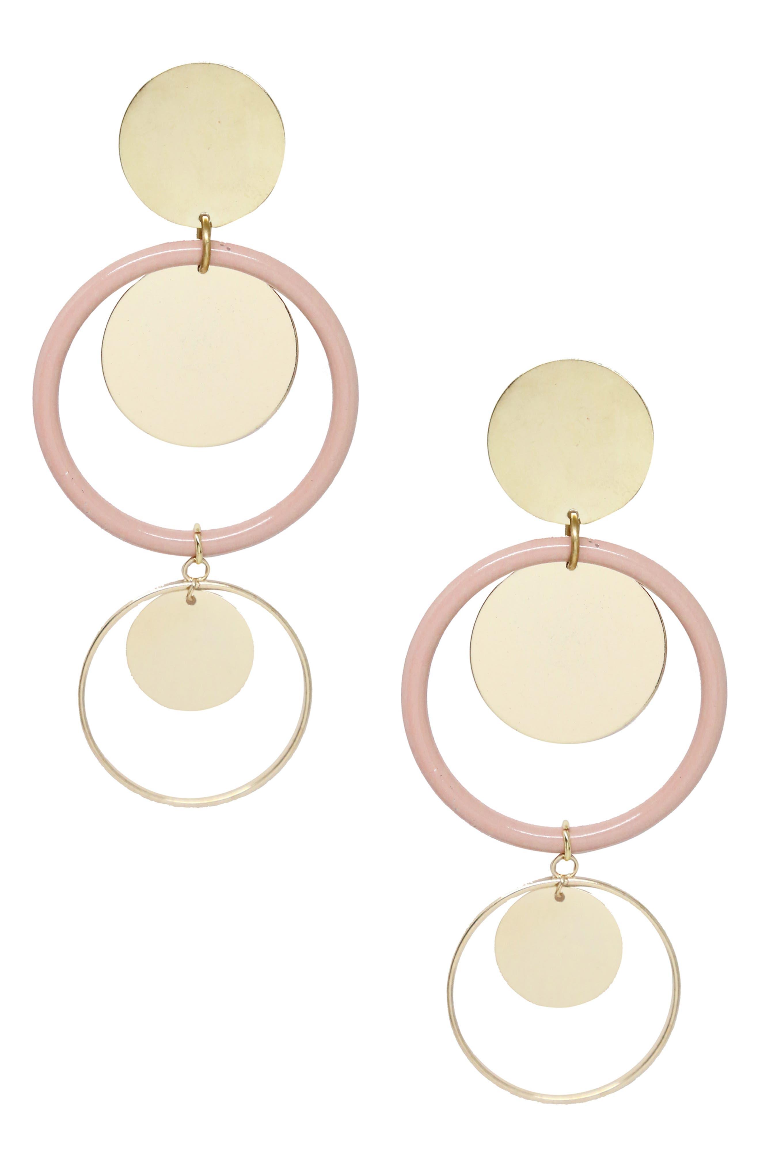 ETTIKA Circle Geo Drop Earrings in Light Pink/ Gold