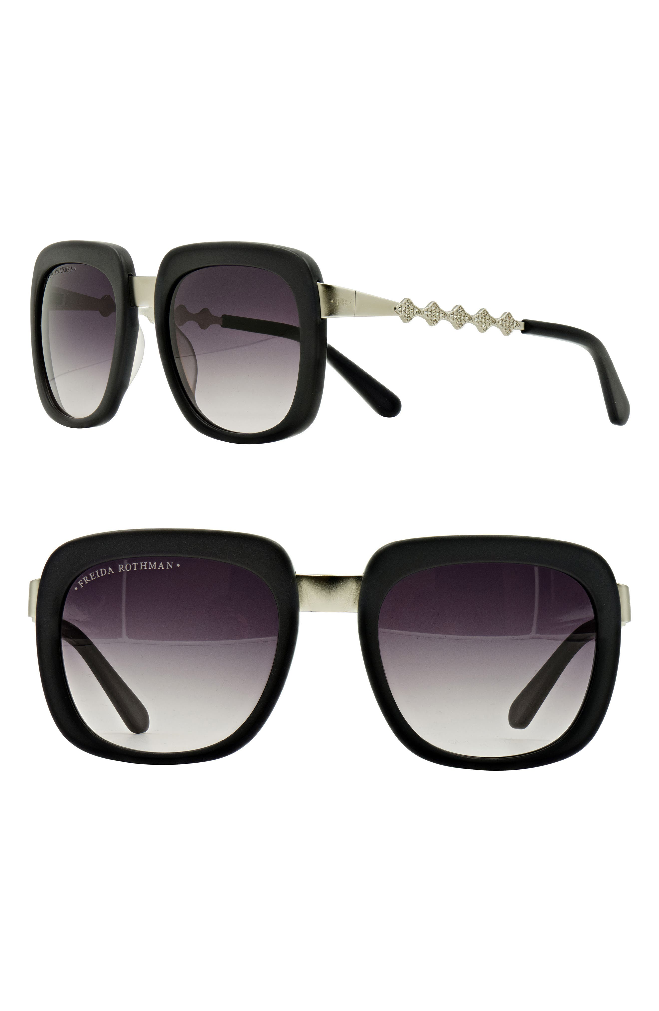 Freida Rothman 'Serena' 57mm Square Sunglasses,                             Main thumbnail 1, color,                             GREY